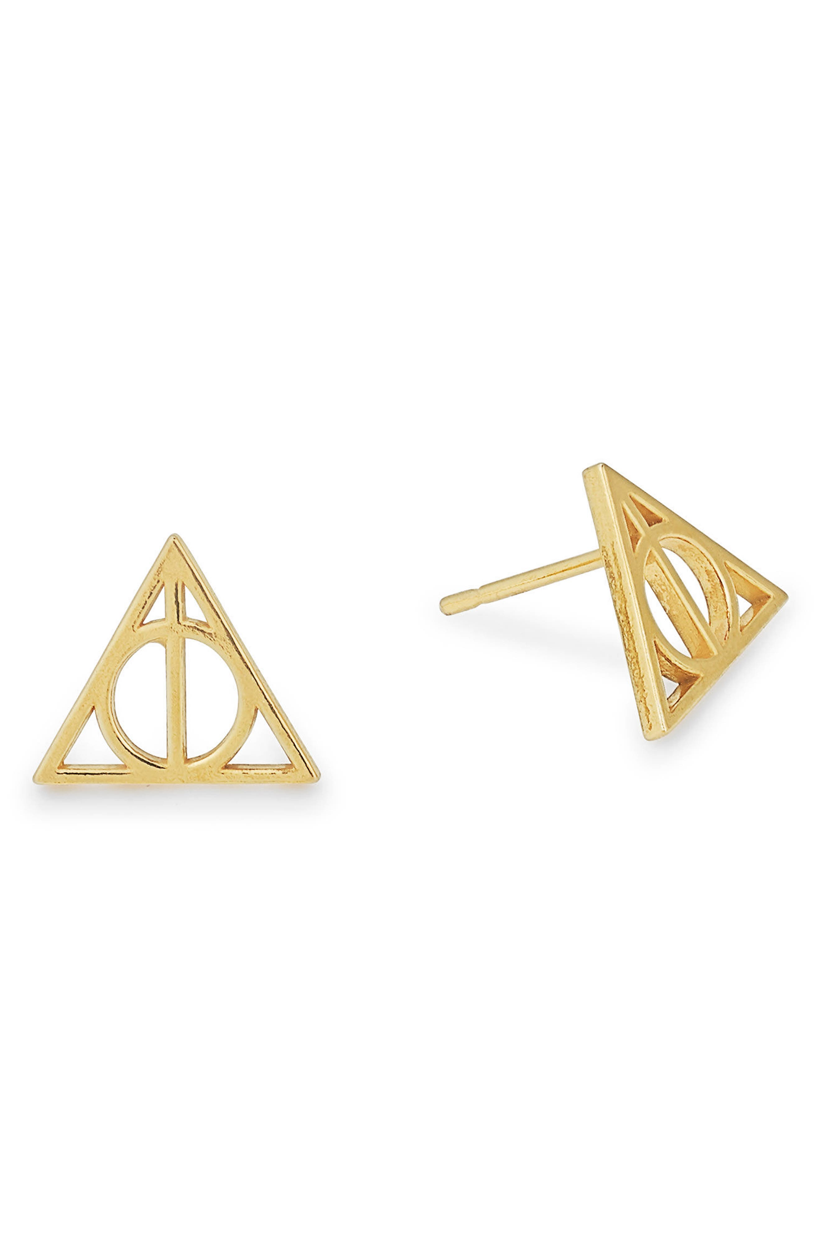 Harry Potter<sup>™</sup> Deathly Hallows<sup>™</sup> Earrings,                             Main thumbnail 1, color,                             Gold