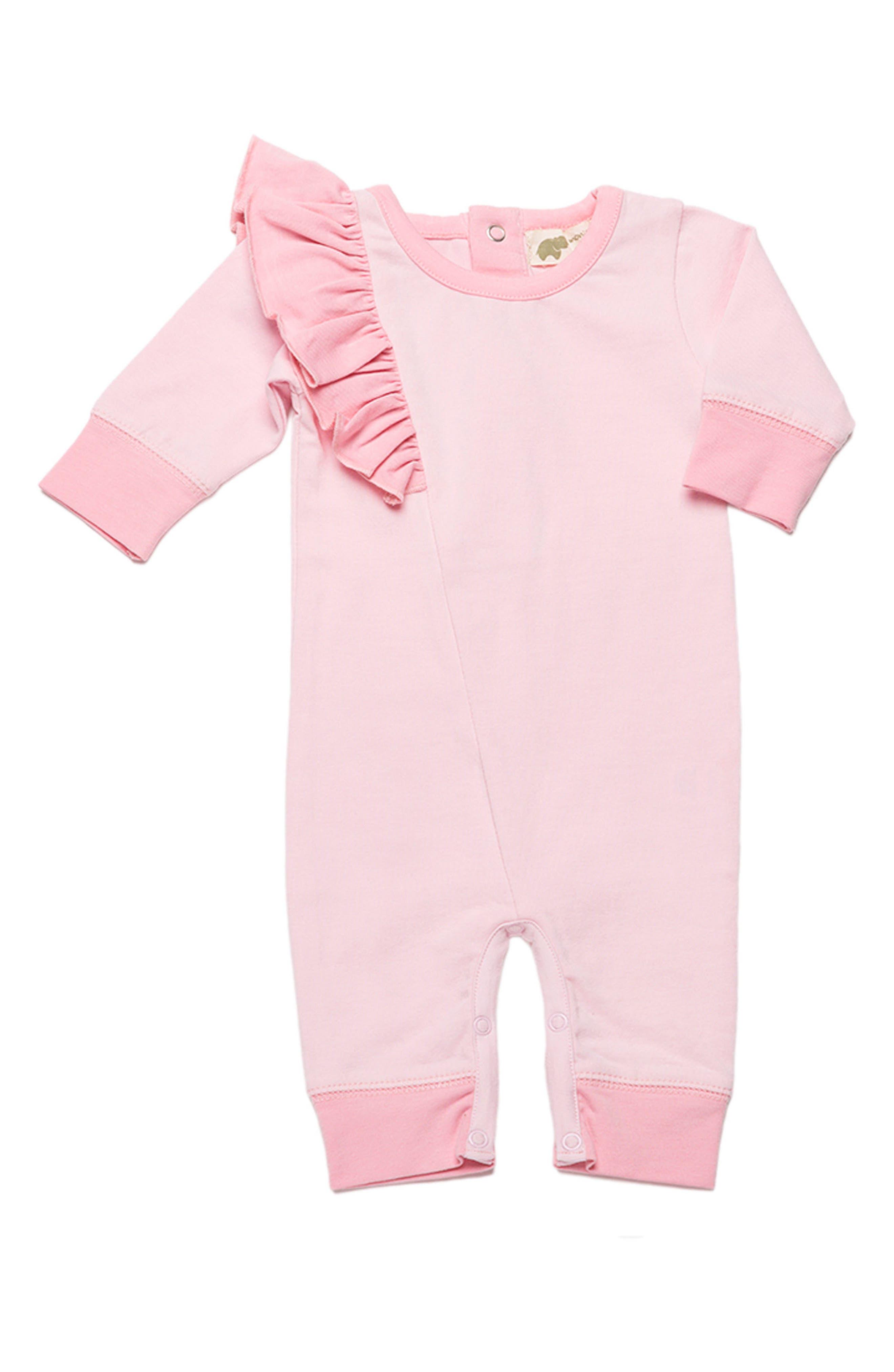 Ruffle Organic Cotton Romper,                             Main thumbnail 1, color,                             Baby Pink