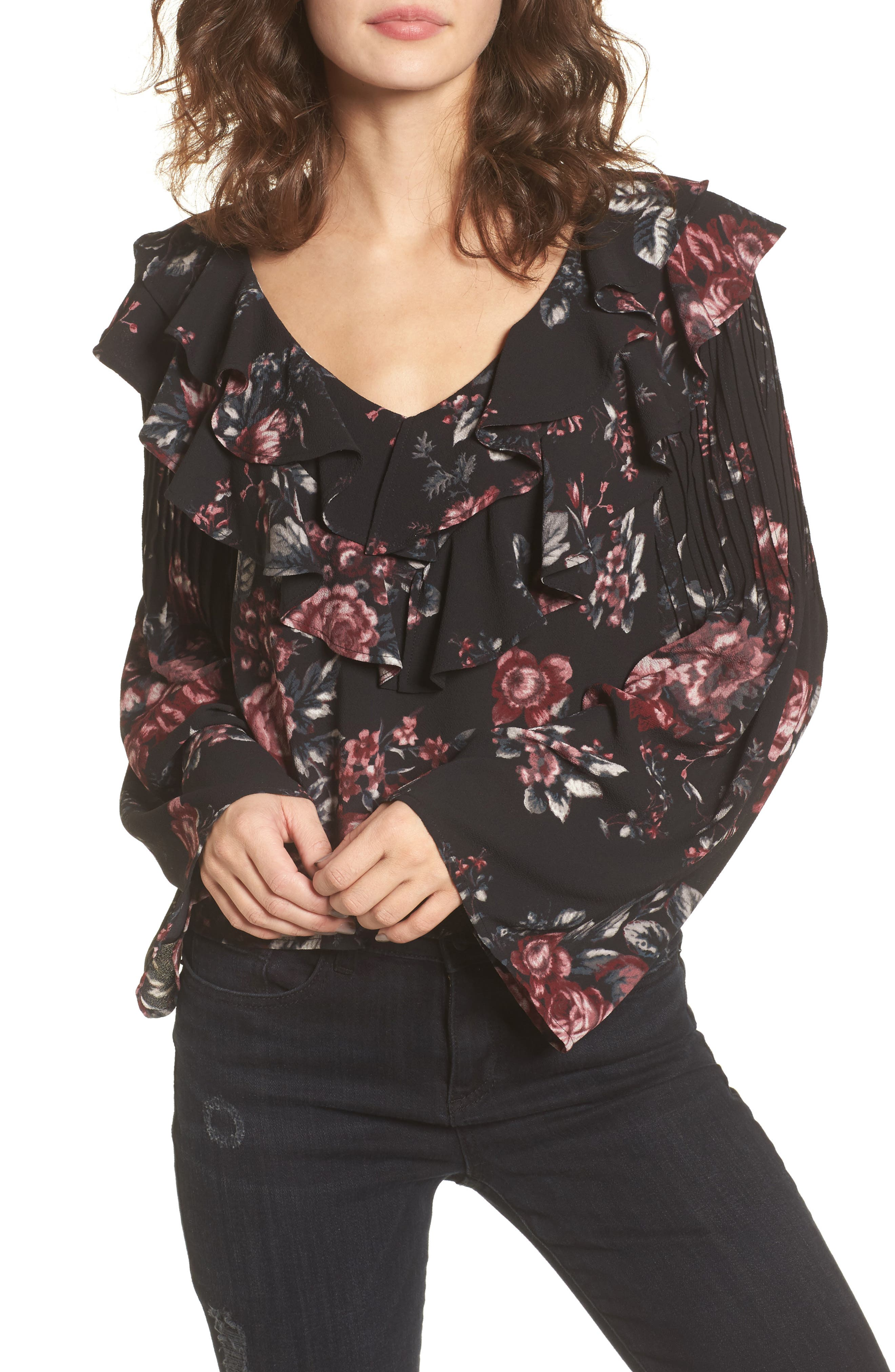 Ruffle Top,                         Main,                         color, Black Photo Real Floral