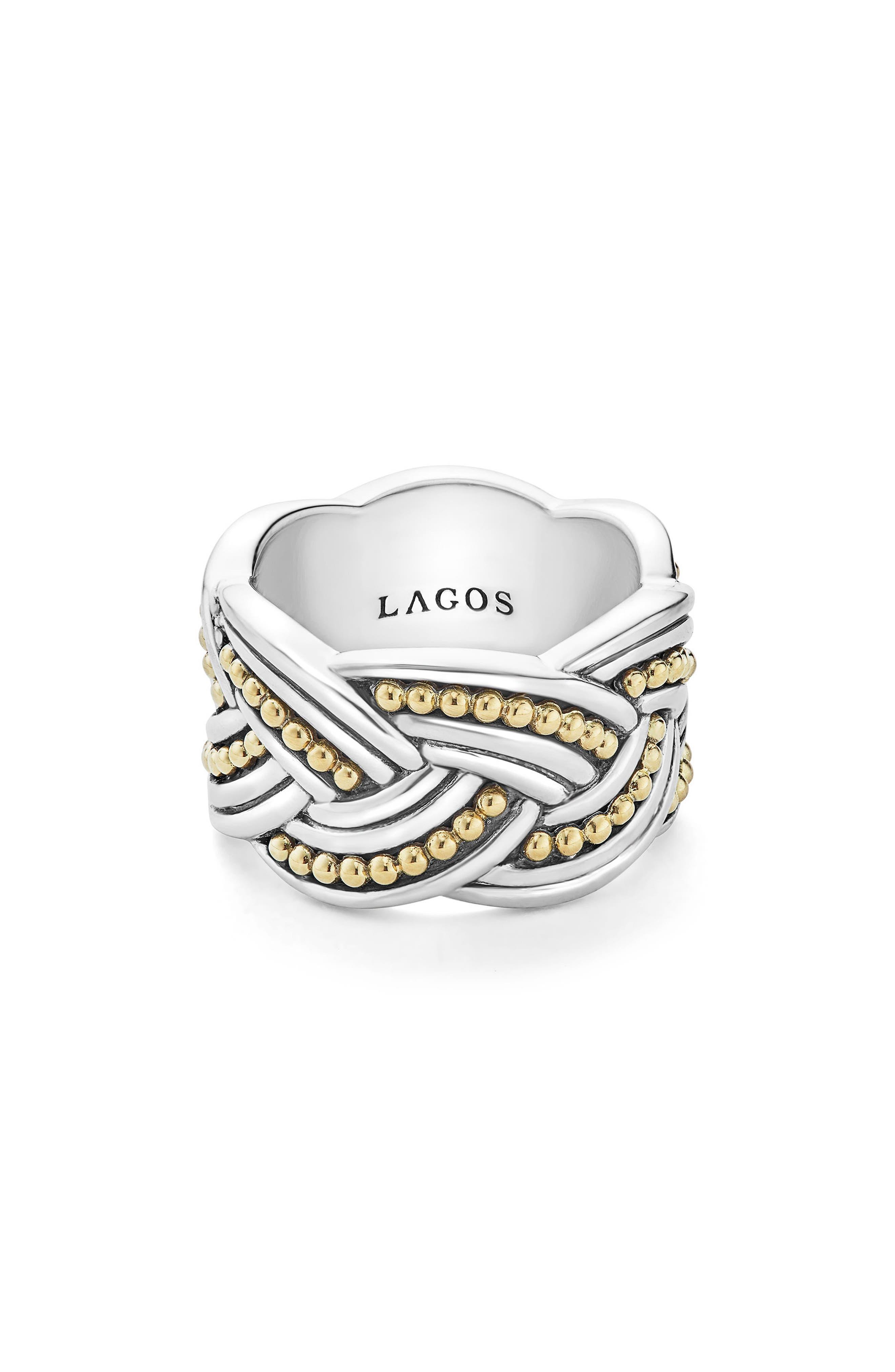 Torsade Knot Ring,                             Main thumbnail 1, color,                             Silver/ Gold