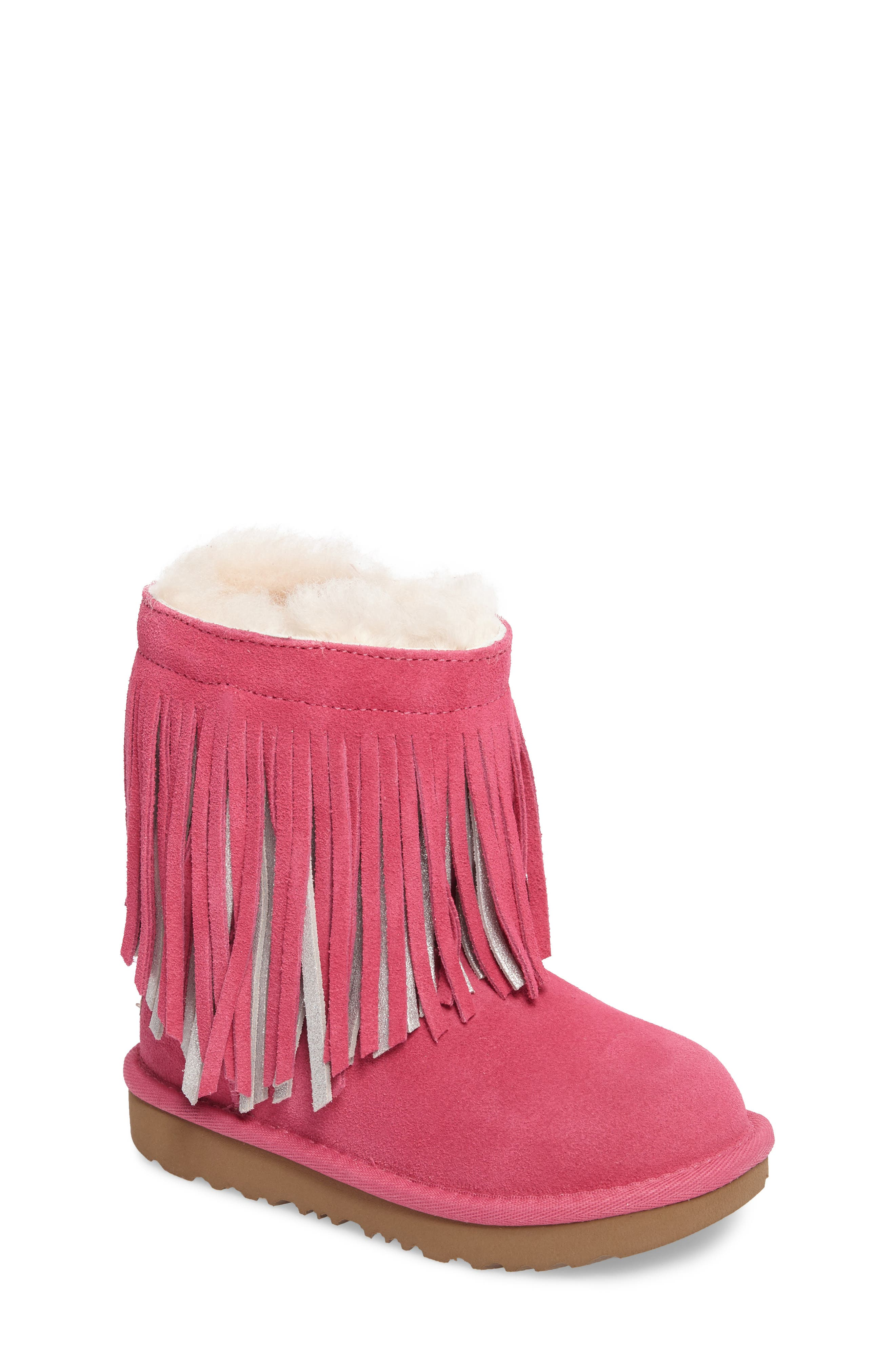 UGG® Classic II Short Fringe Water Resistant Genuine Shearling Boot (Walker, Toddler, Little Kid & Big Kid)
