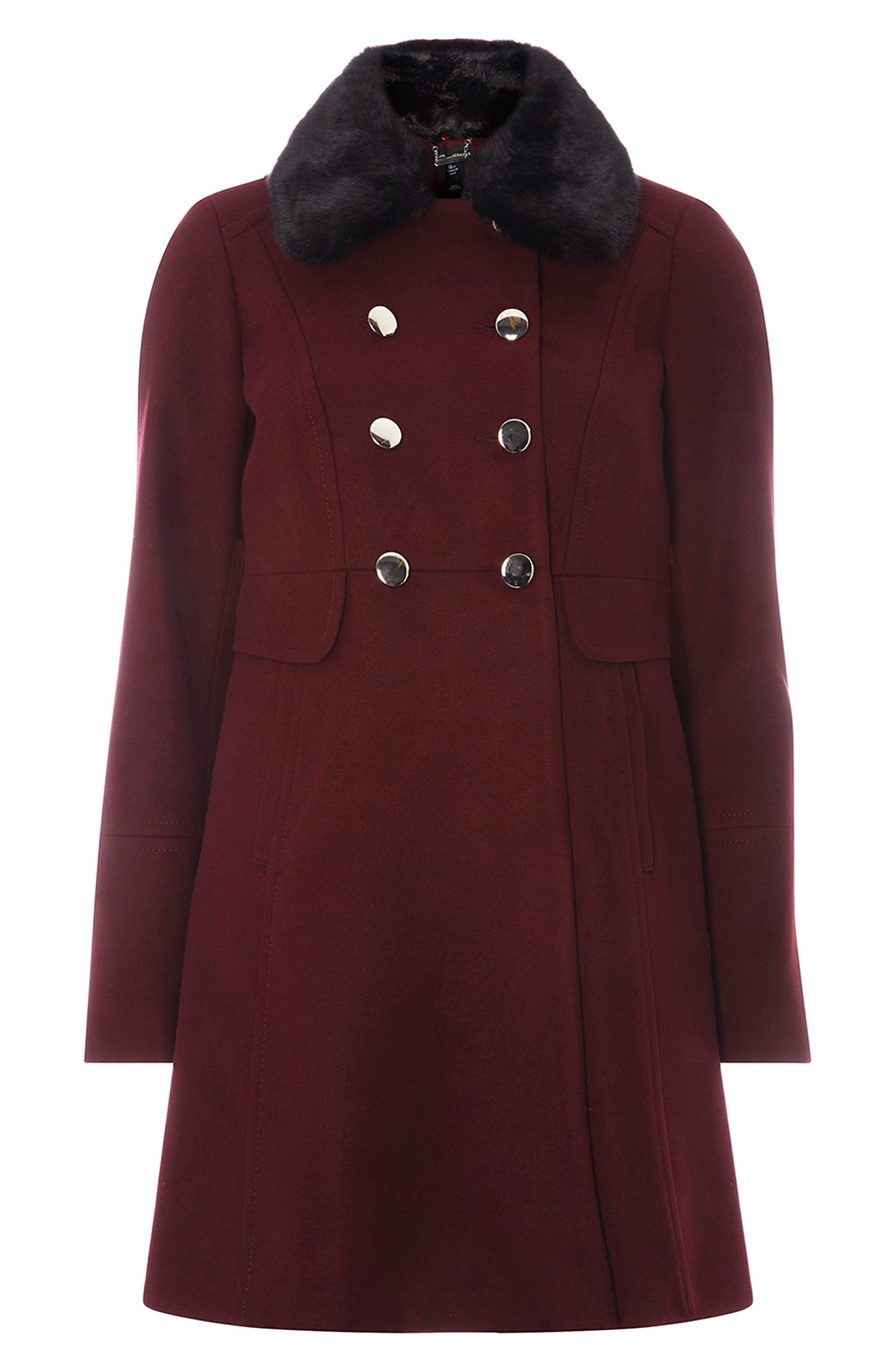 Faux Fur Collar Double Breasted Coat,                             Alternate thumbnail 4, color,                             Berry Red