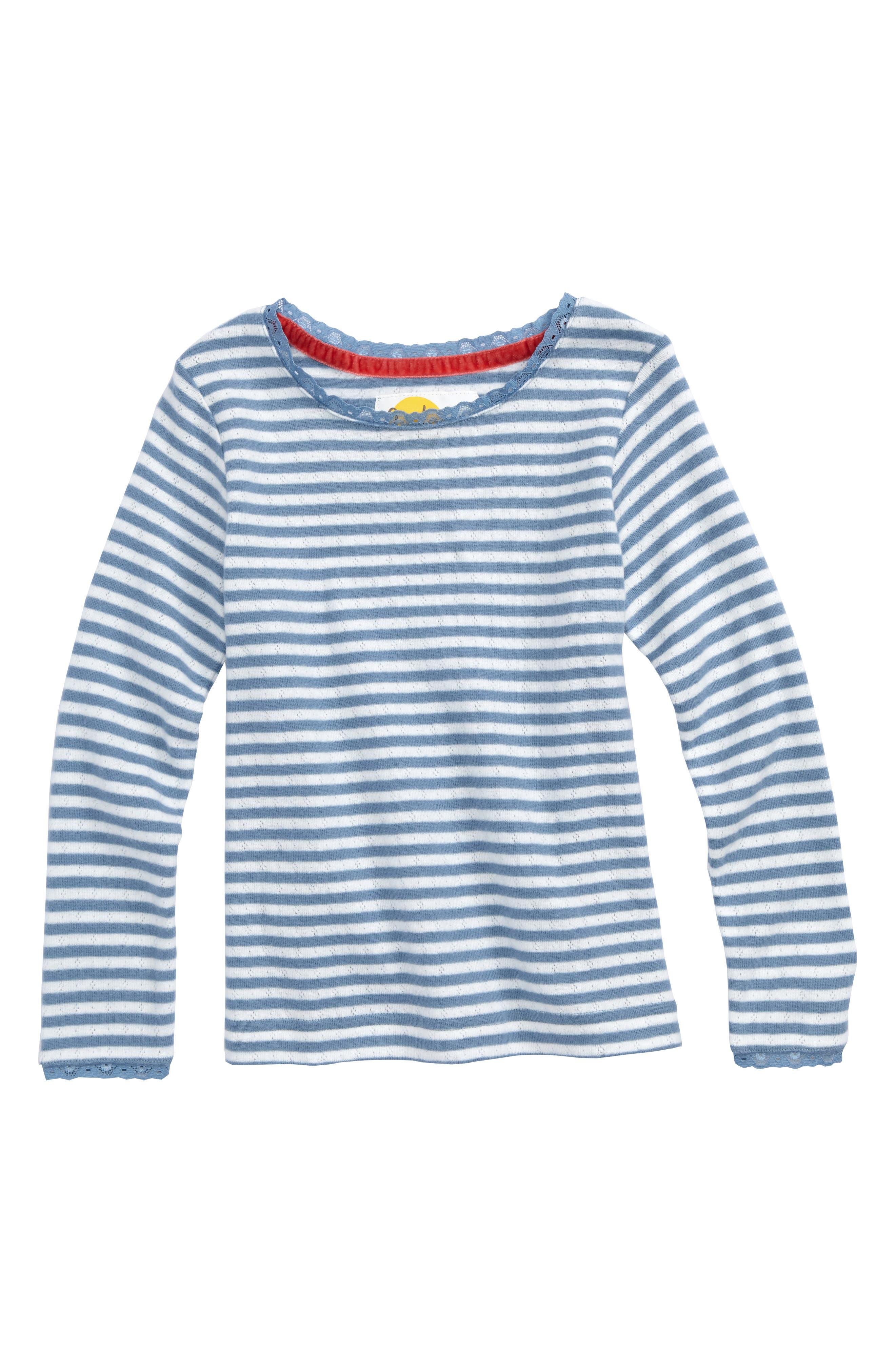 Main Image - Mini Boden Soft Stripe Pointelle Tee (Toddler Girls, Little Girls & Big Girls)