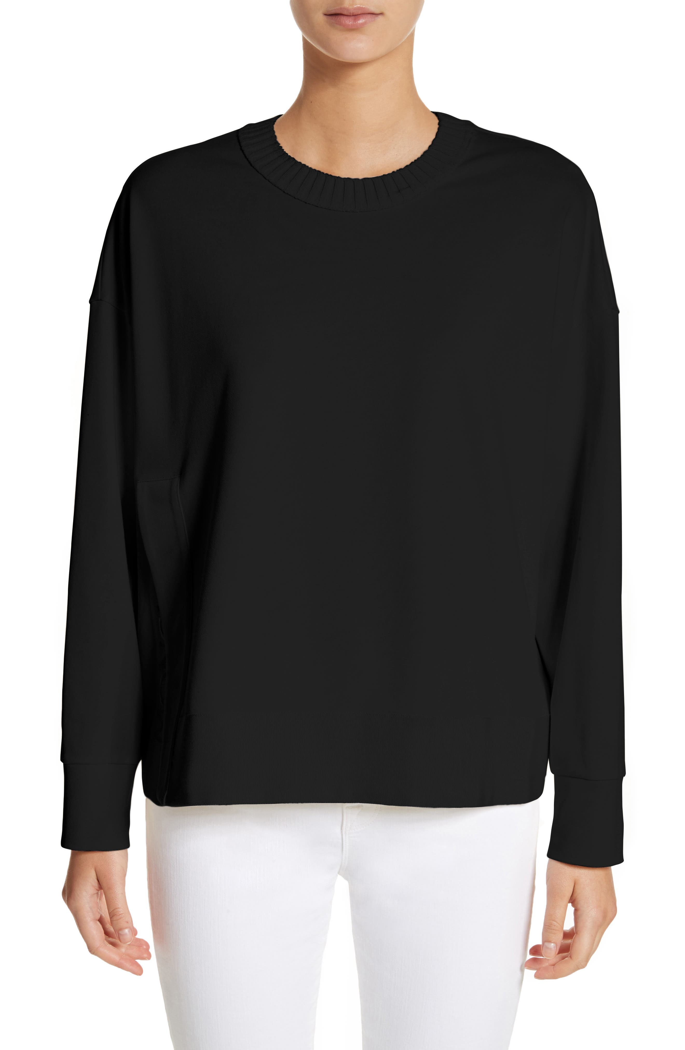Cotton Sweatshirt,                         Main,                         color, Black