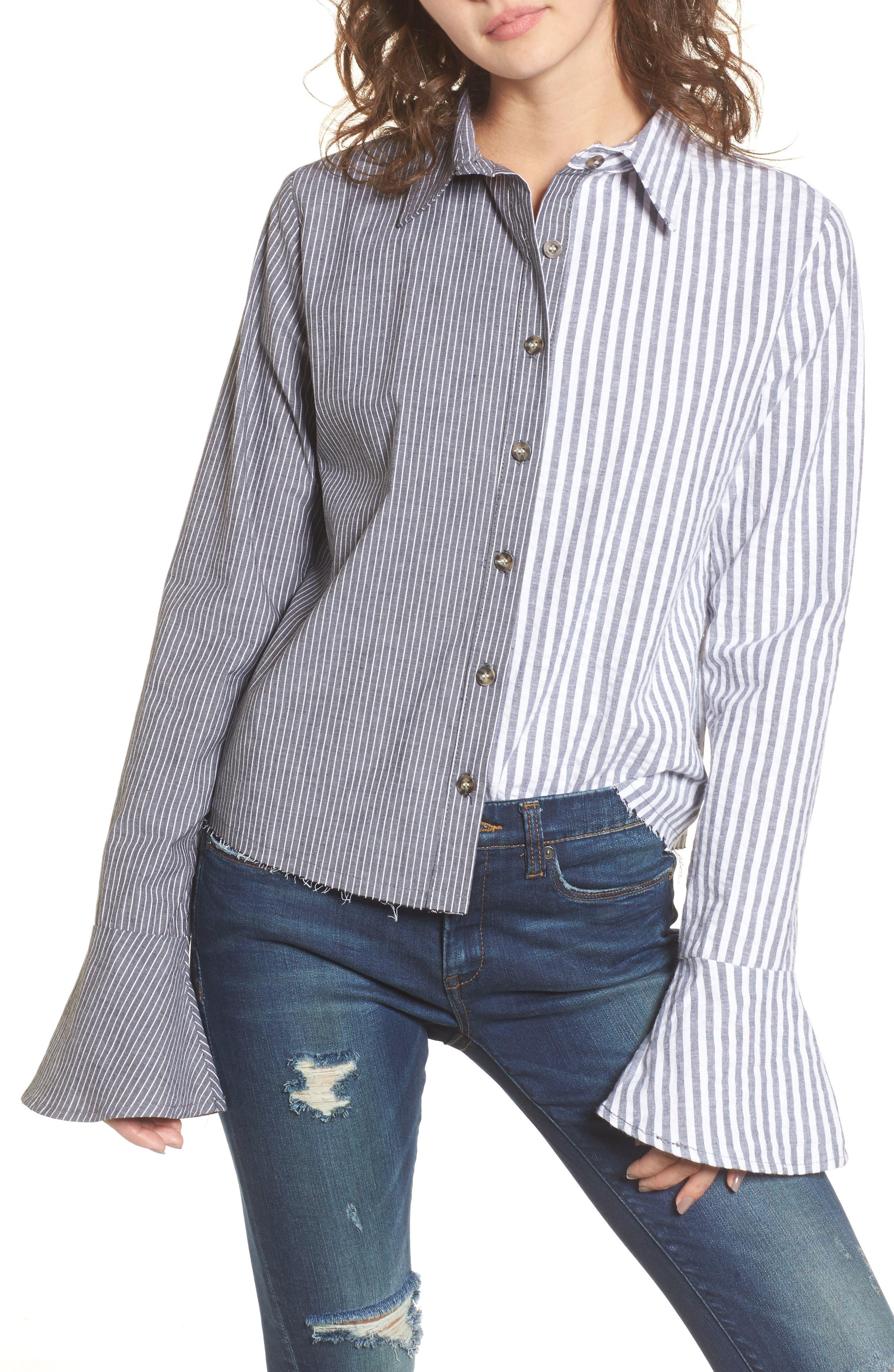 Mismatch Stripe Shirt,                             Main thumbnail 1, color,                             Stripe