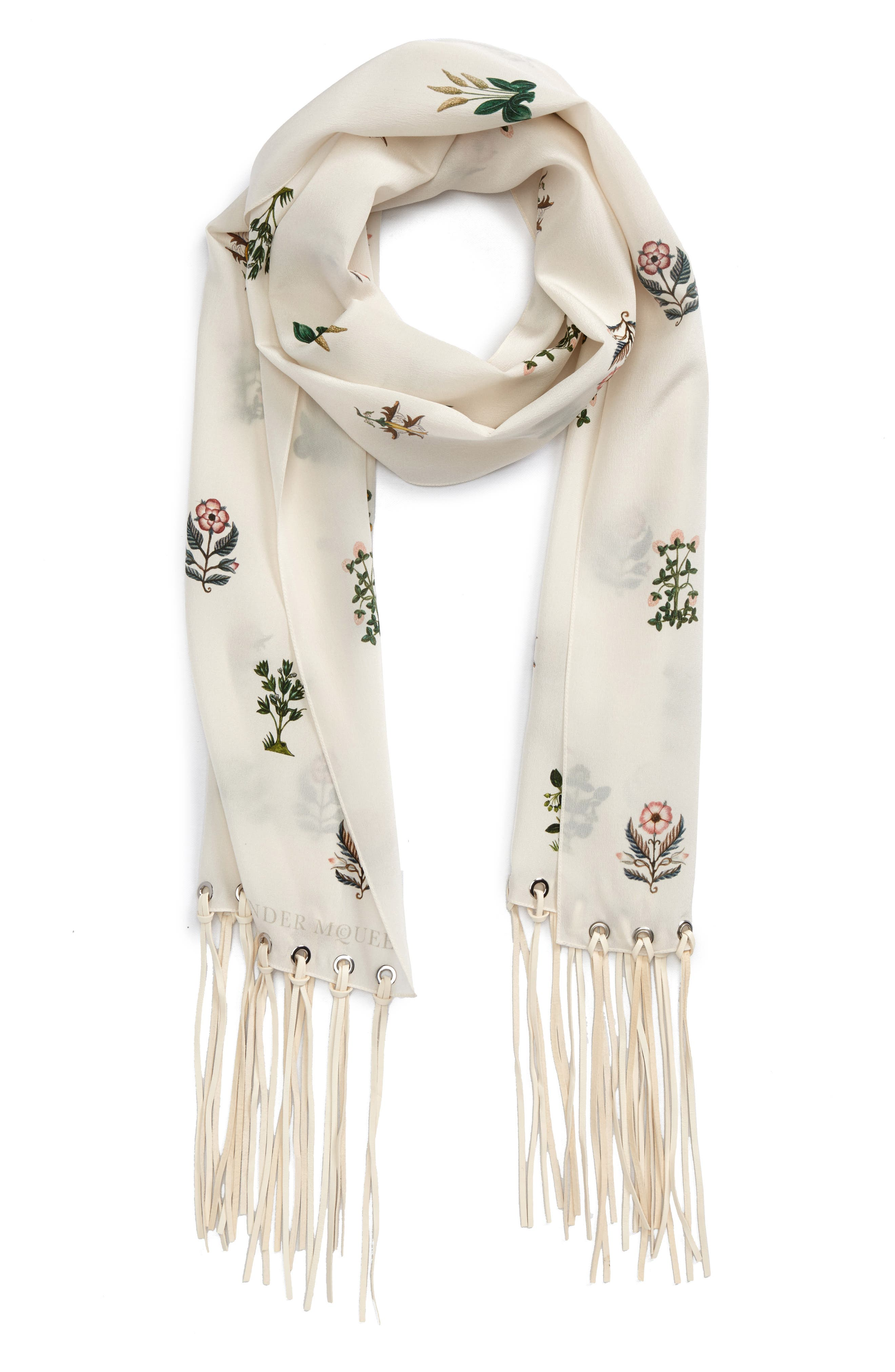 Medieval Flower Skinny Silk Scarf,                             Alternate thumbnail 2, color,                             Ivory