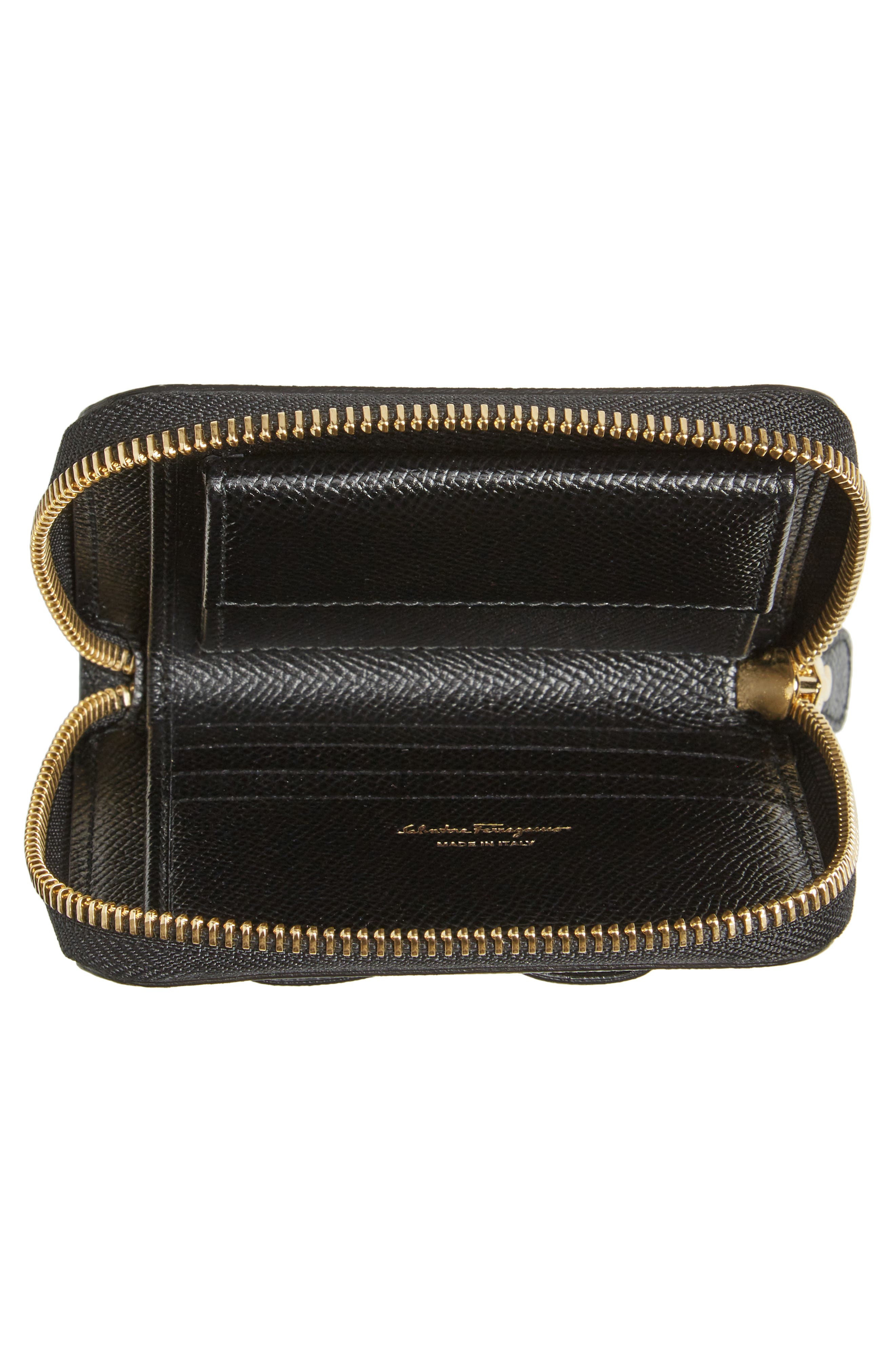 Vara Leather Zip Around French Wallet,                             Alternate thumbnail 3, color,                             Nero