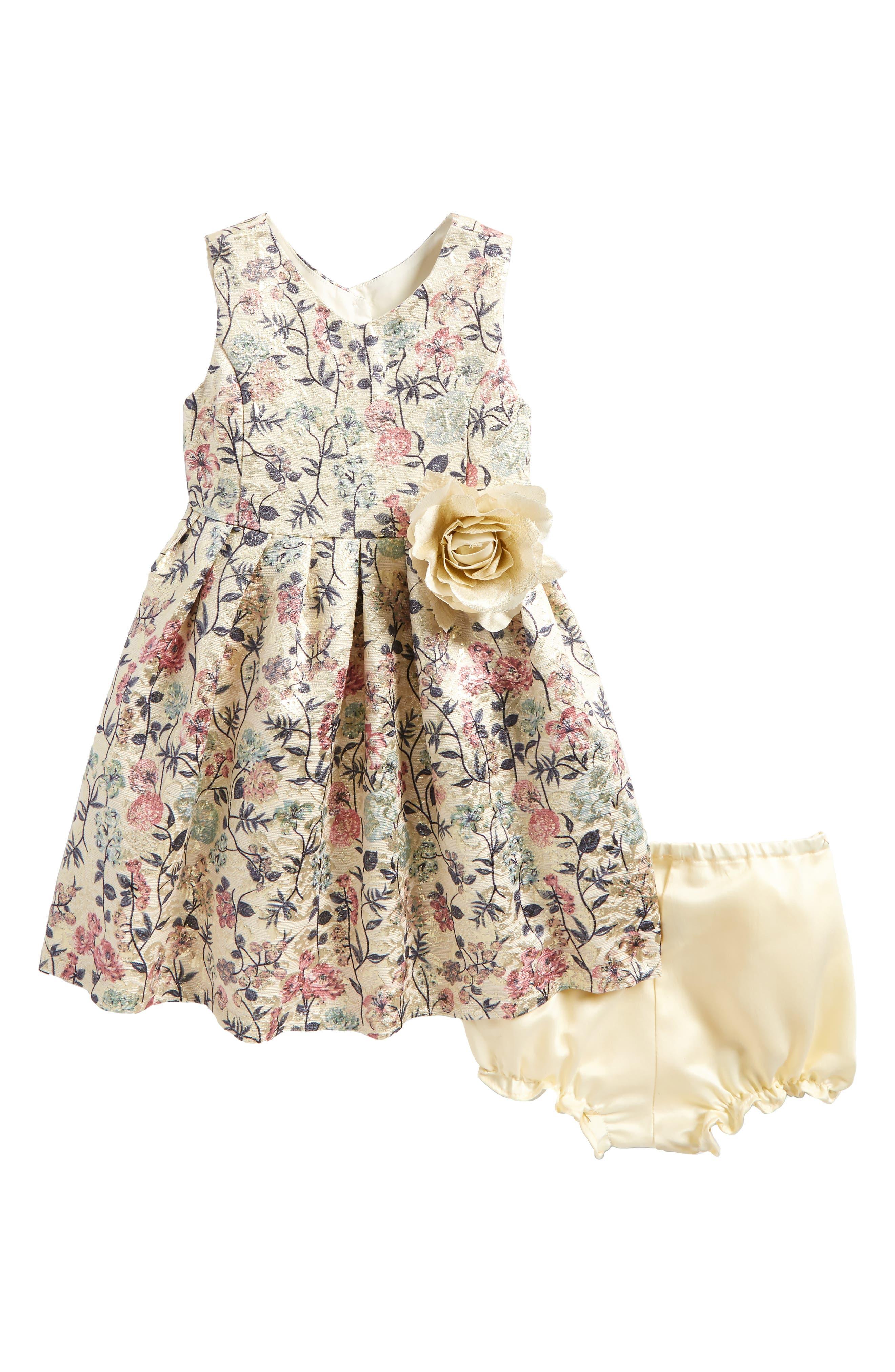Main Image - Pippa & Julie Metallic Floral Brocade Dress (Baby Girls)