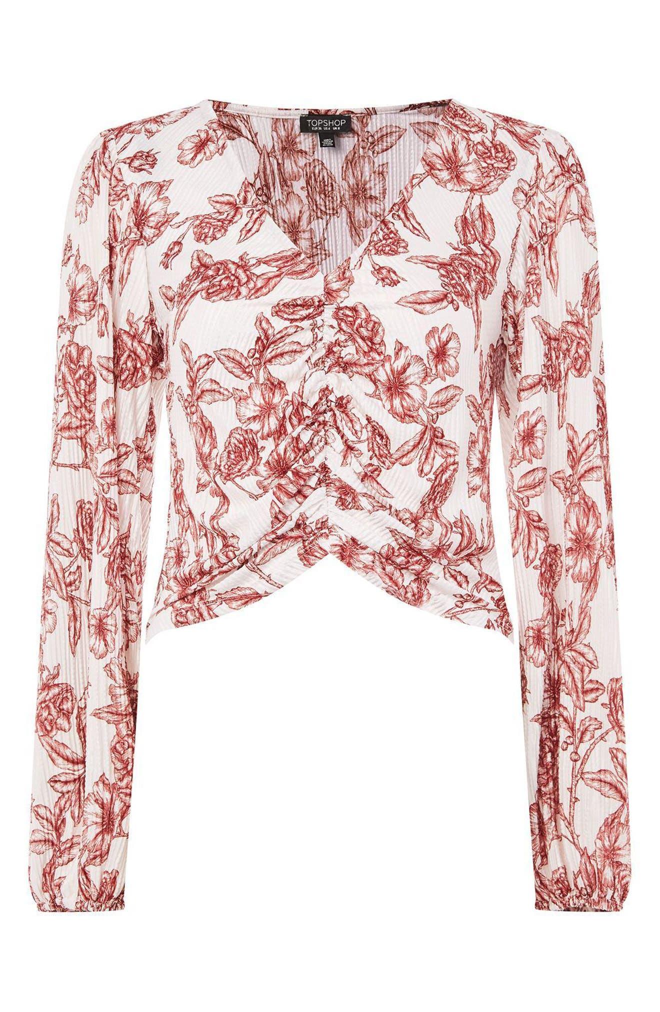 Sketchy Floral Blouse,                             Alternate thumbnail 5, color,                             Cream Multi