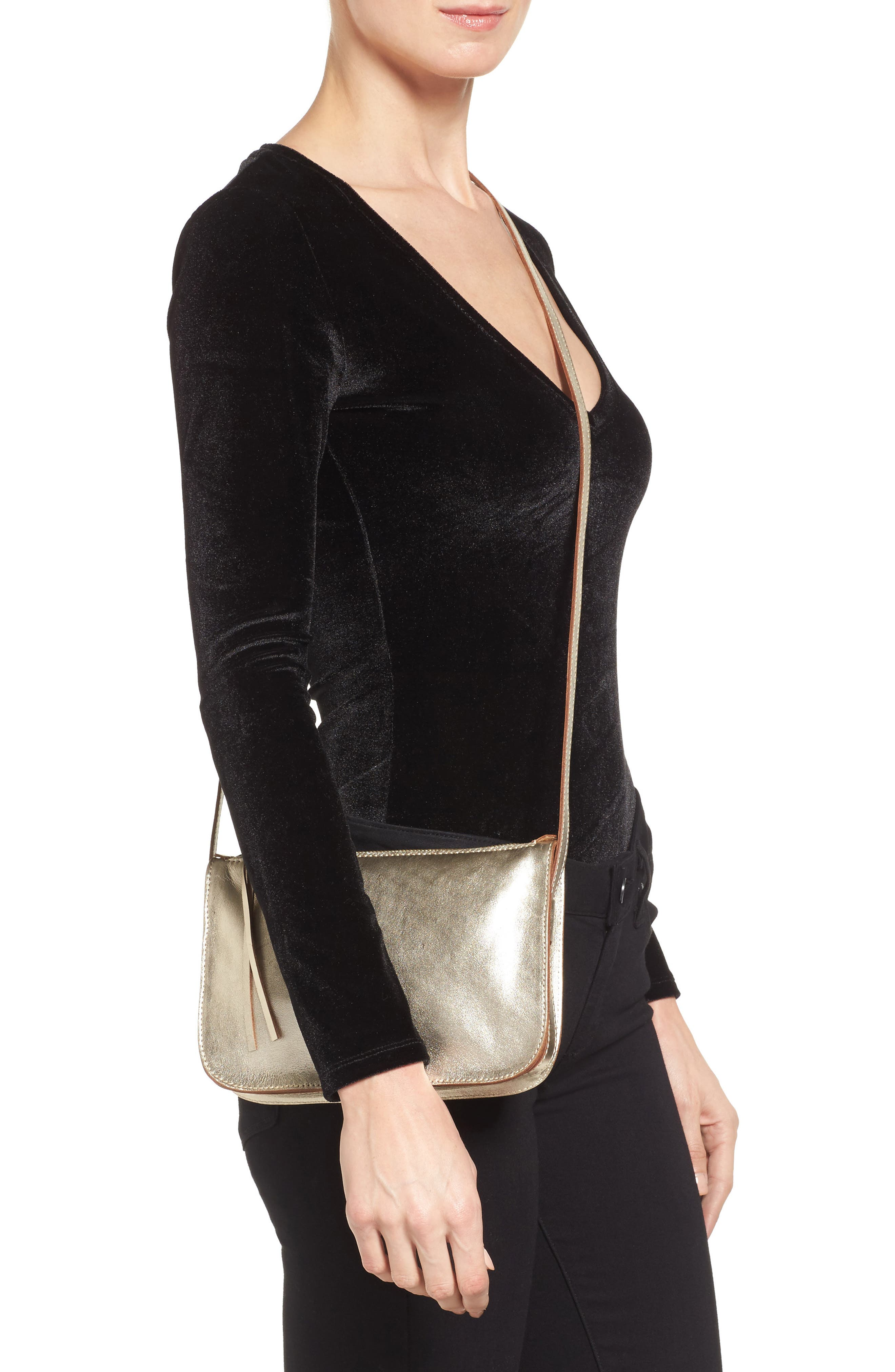 Leather Crossbody Bag,                             Alternate thumbnail 2, color,                             Gold Metallic