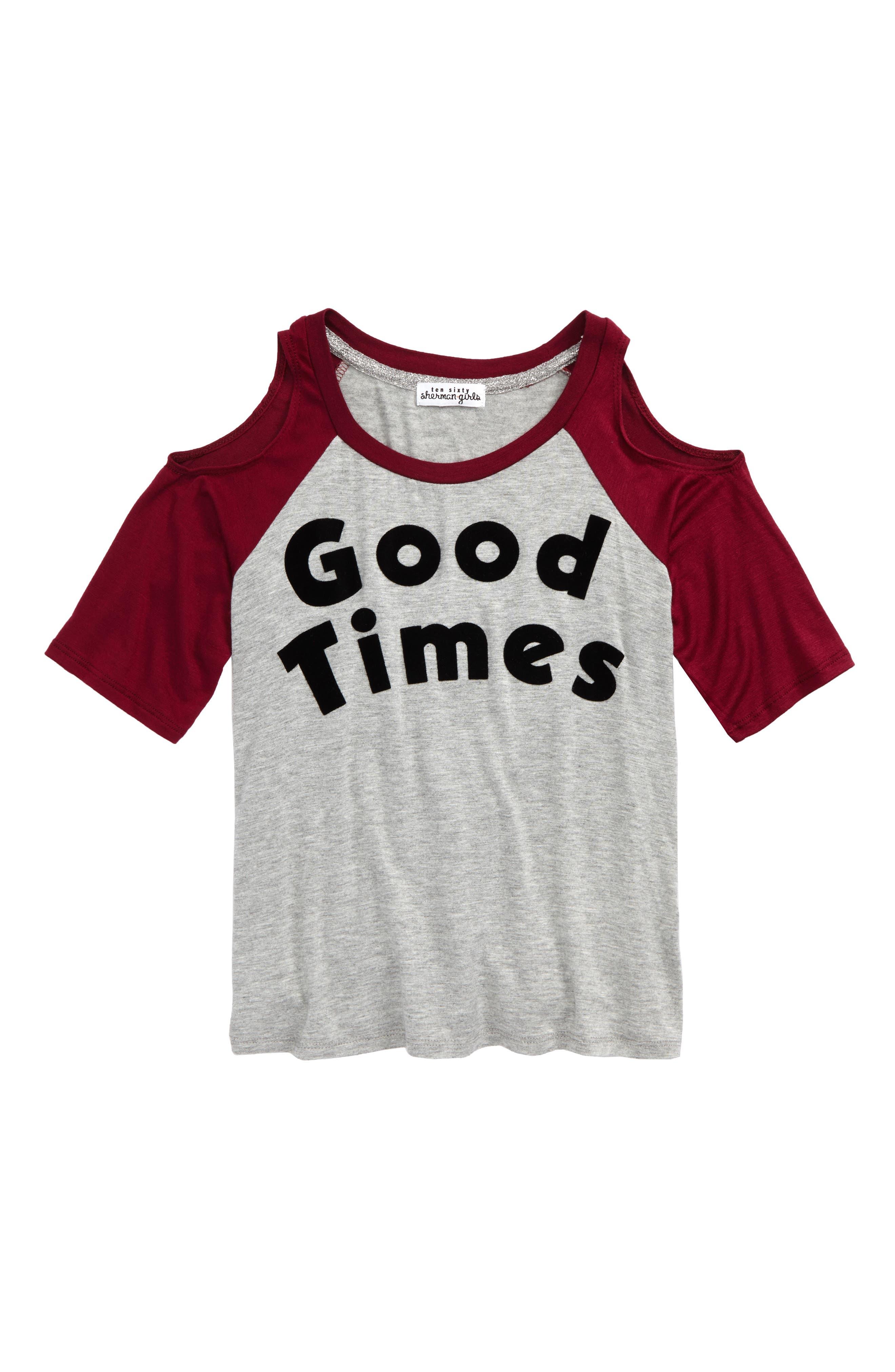 Good Times Tee,                         Main,                         color, H.Grey/ Burgundy