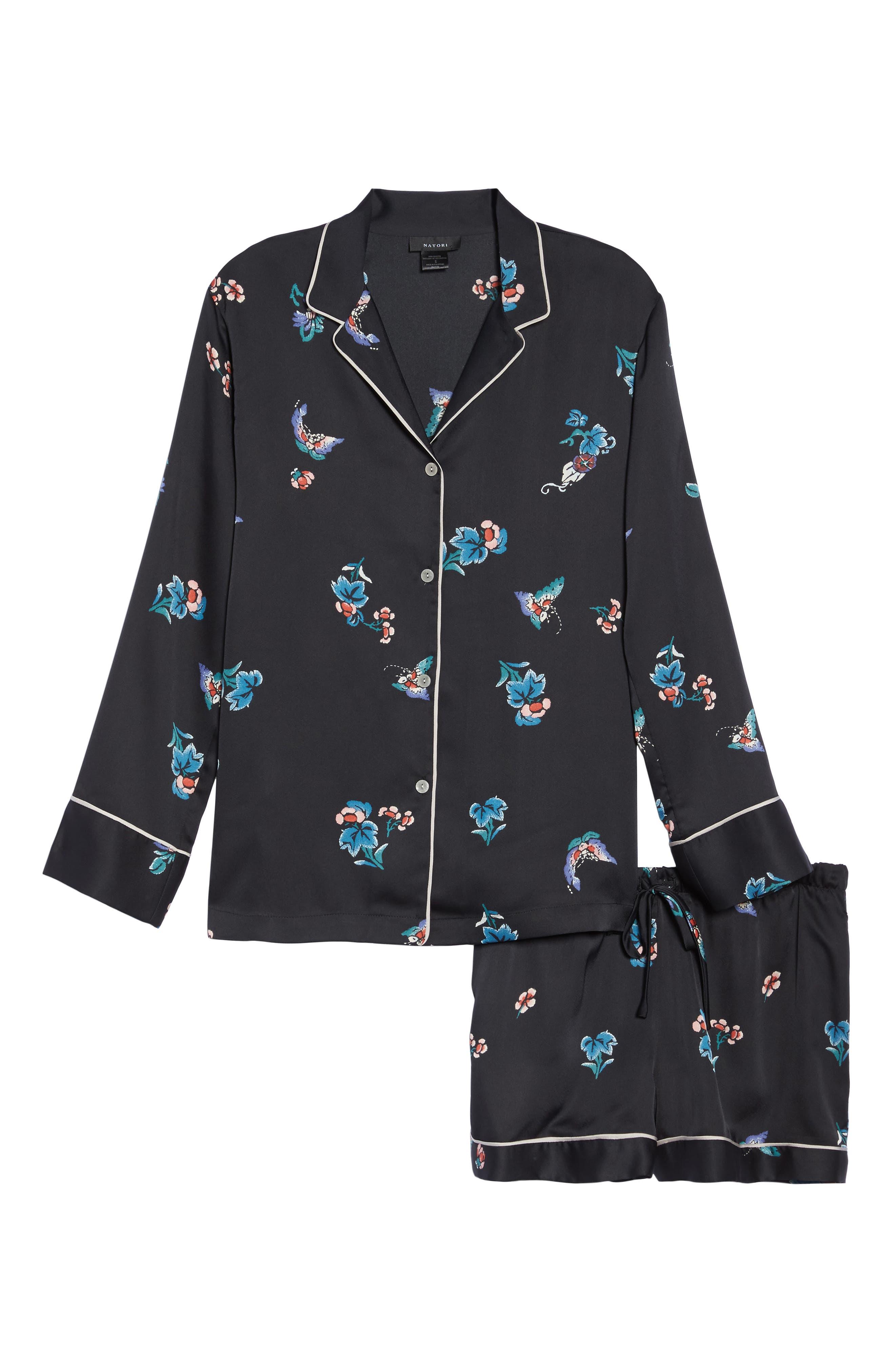 Papillon Print Short Pajamas,                             Alternate thumbnail 4, color,                             Blk Black Print