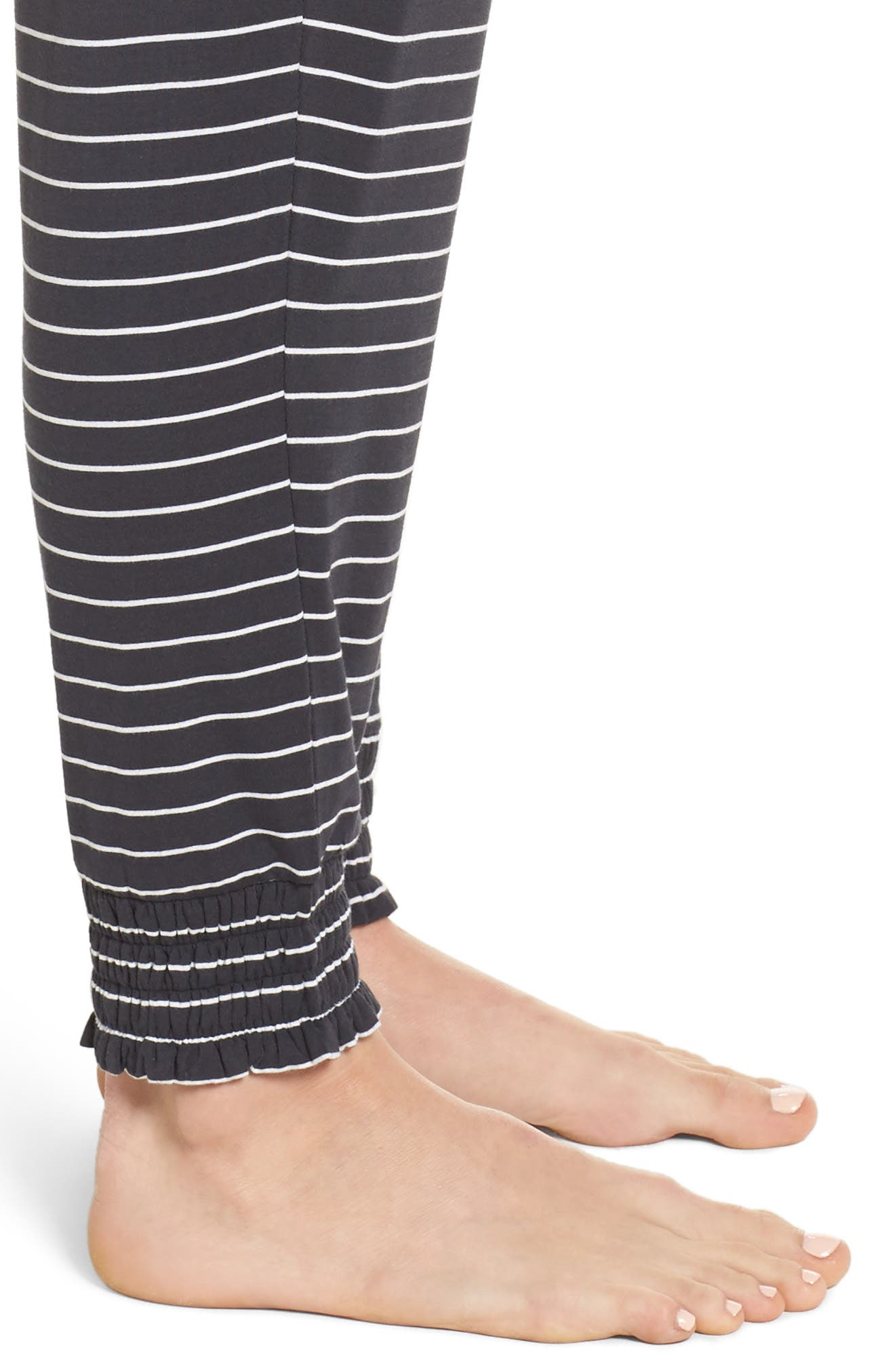 Stripe Jersey Lounge Pants,                             Alternate thumbnail 4, color,                             Smoke