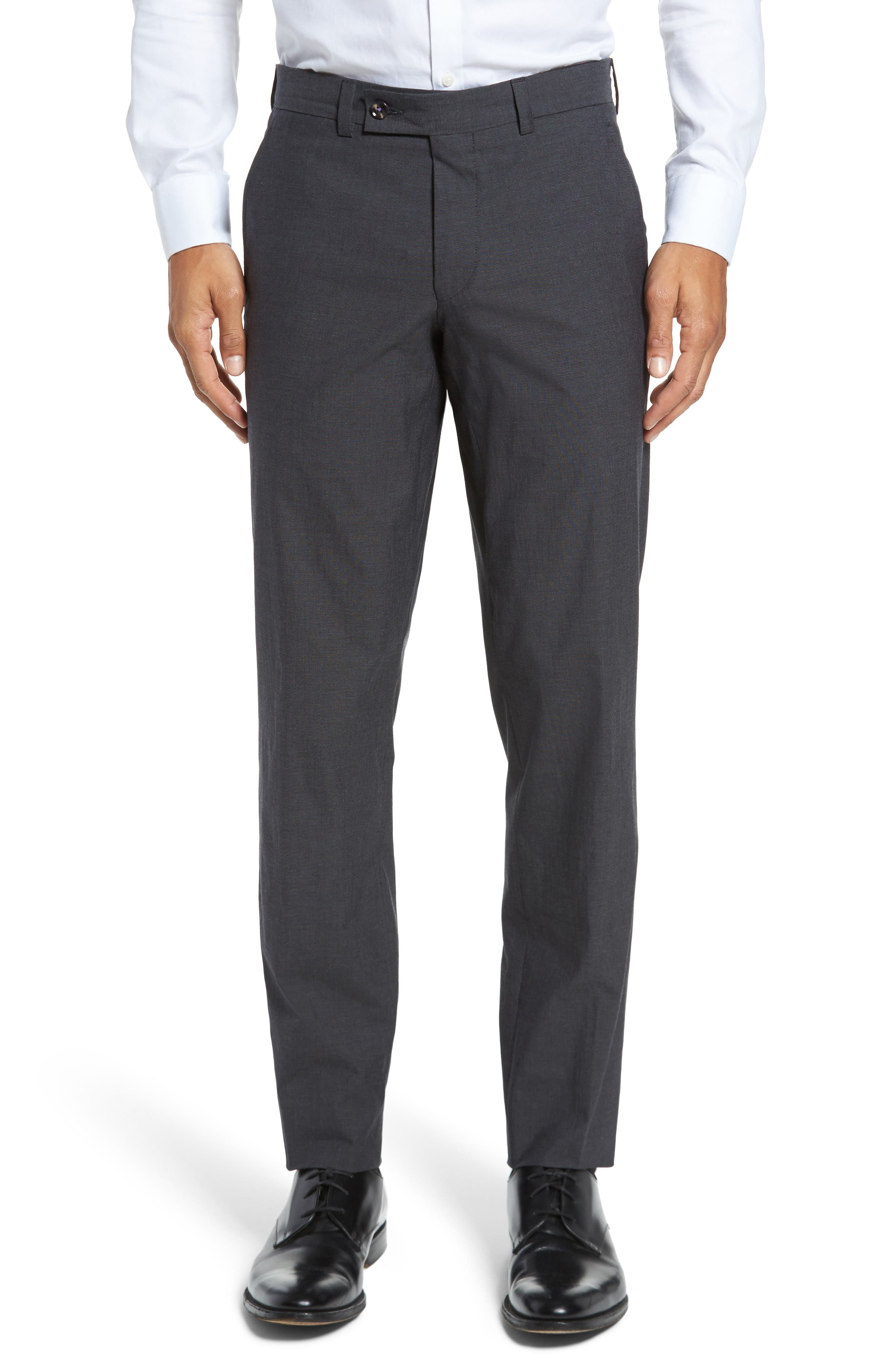 Jerome Flat Front Stretch Solid Cotton Trousers,                         Main,                         color, Charcoal