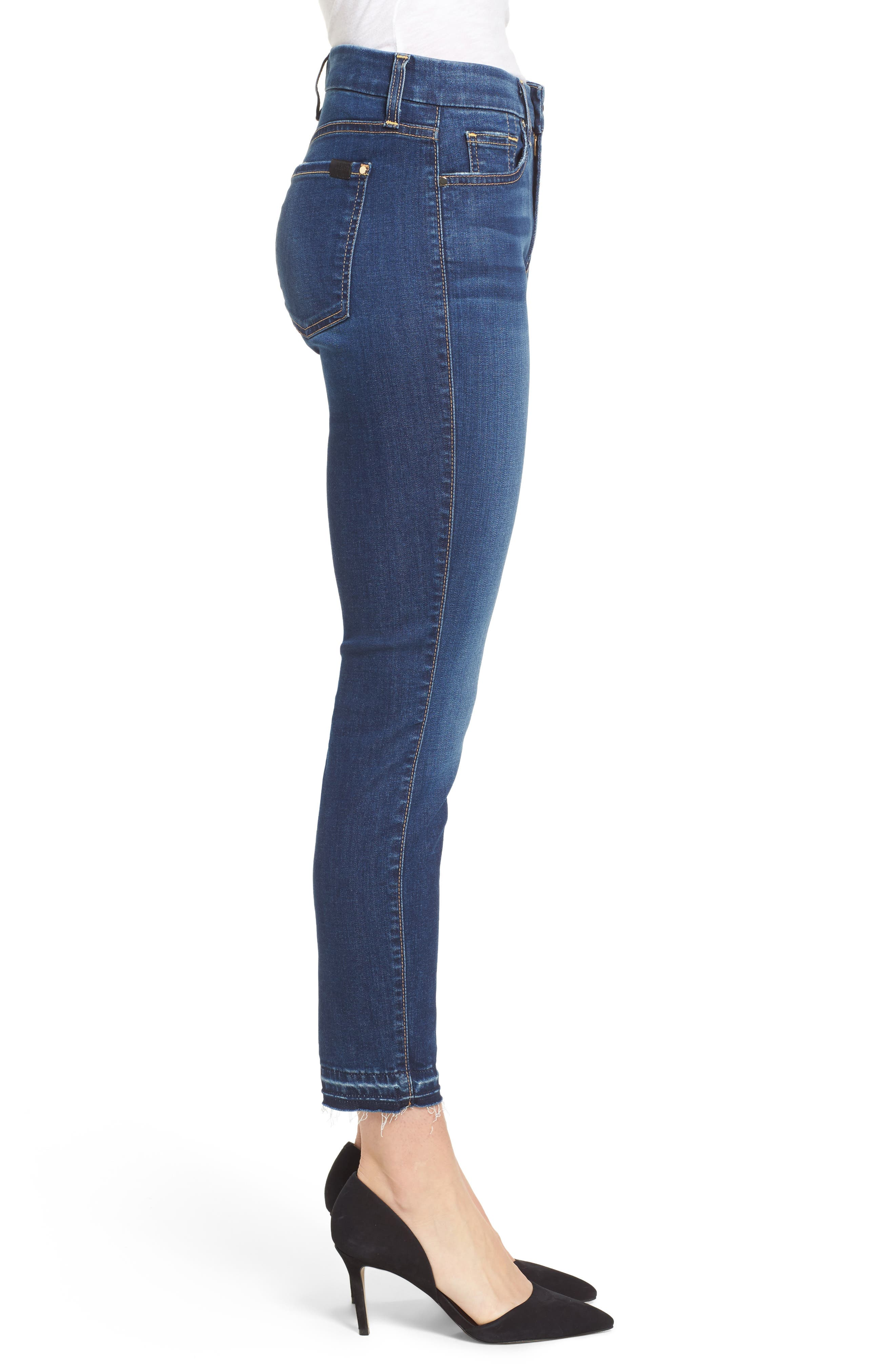 Release Hem Skinny Ankle Jeans,                             Alternate thumbnail 3, color,                             Riche Touch Medium Blue