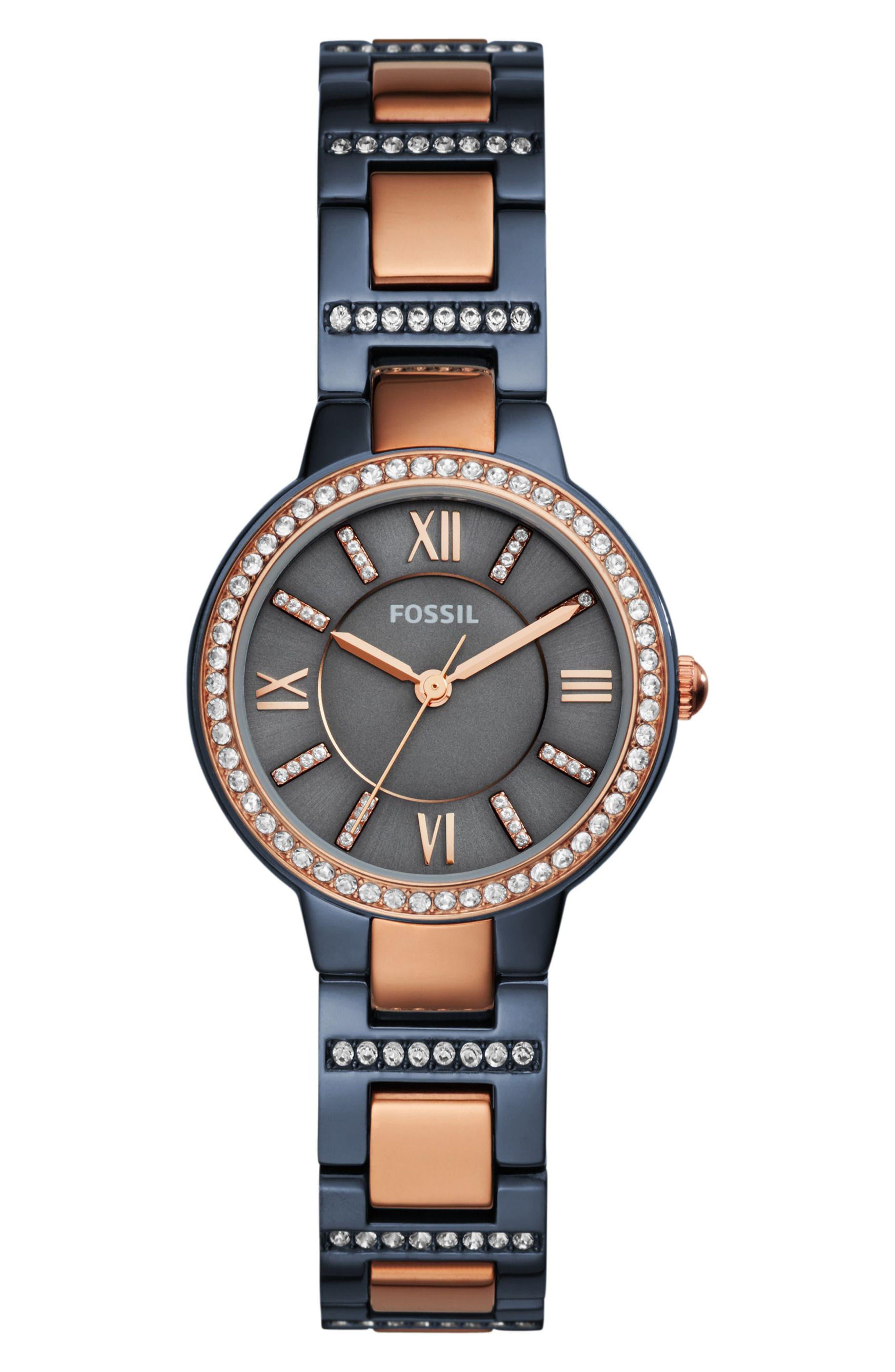 Virginia Crystal Bracelet Watch, 30mm,                             Main thumbnail 1, color,                             Blue/ Rose Gold
