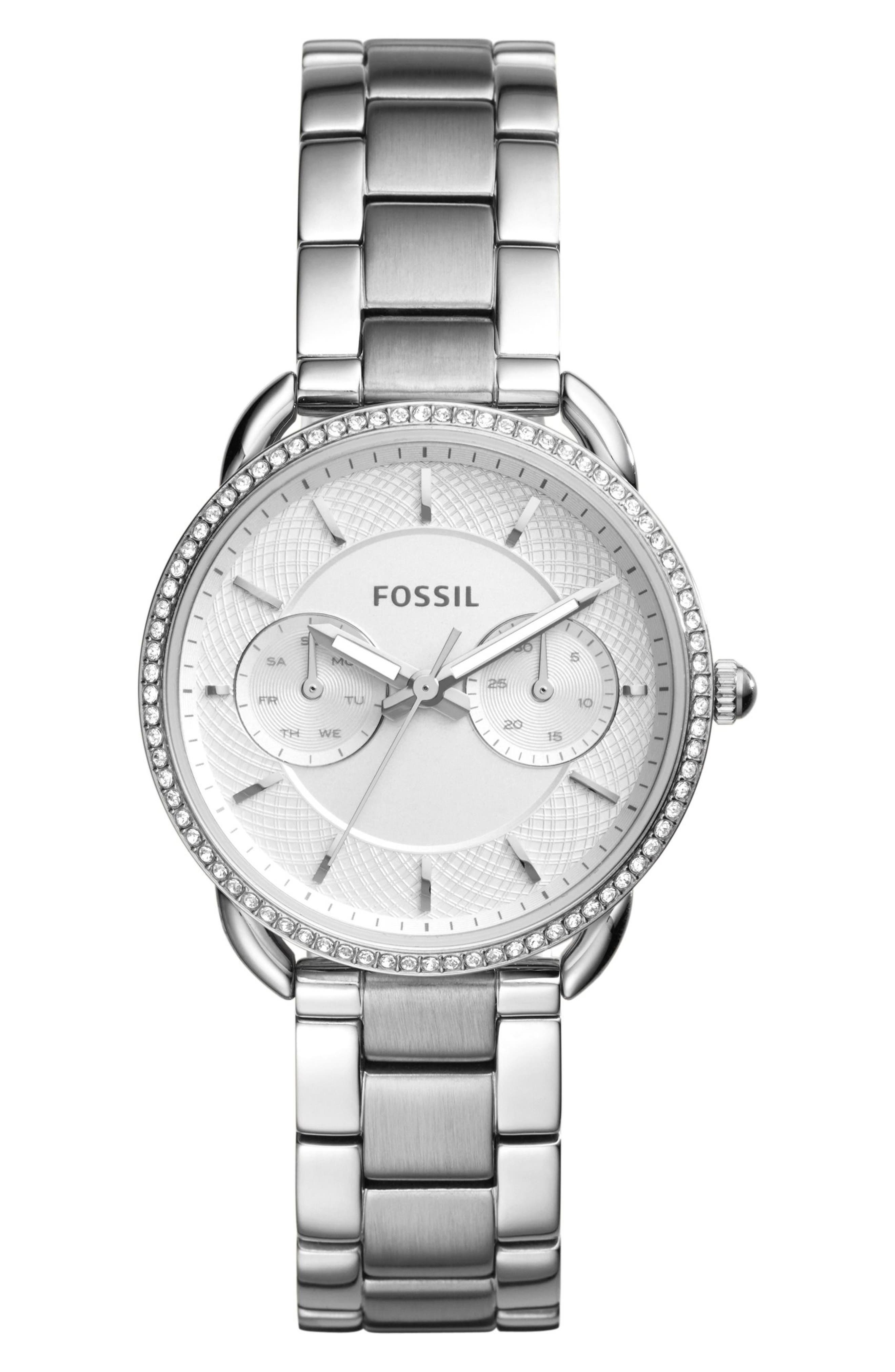 Main Image - Fossil Tailor Crystal Multifunction Bracelet Watch, 35mm