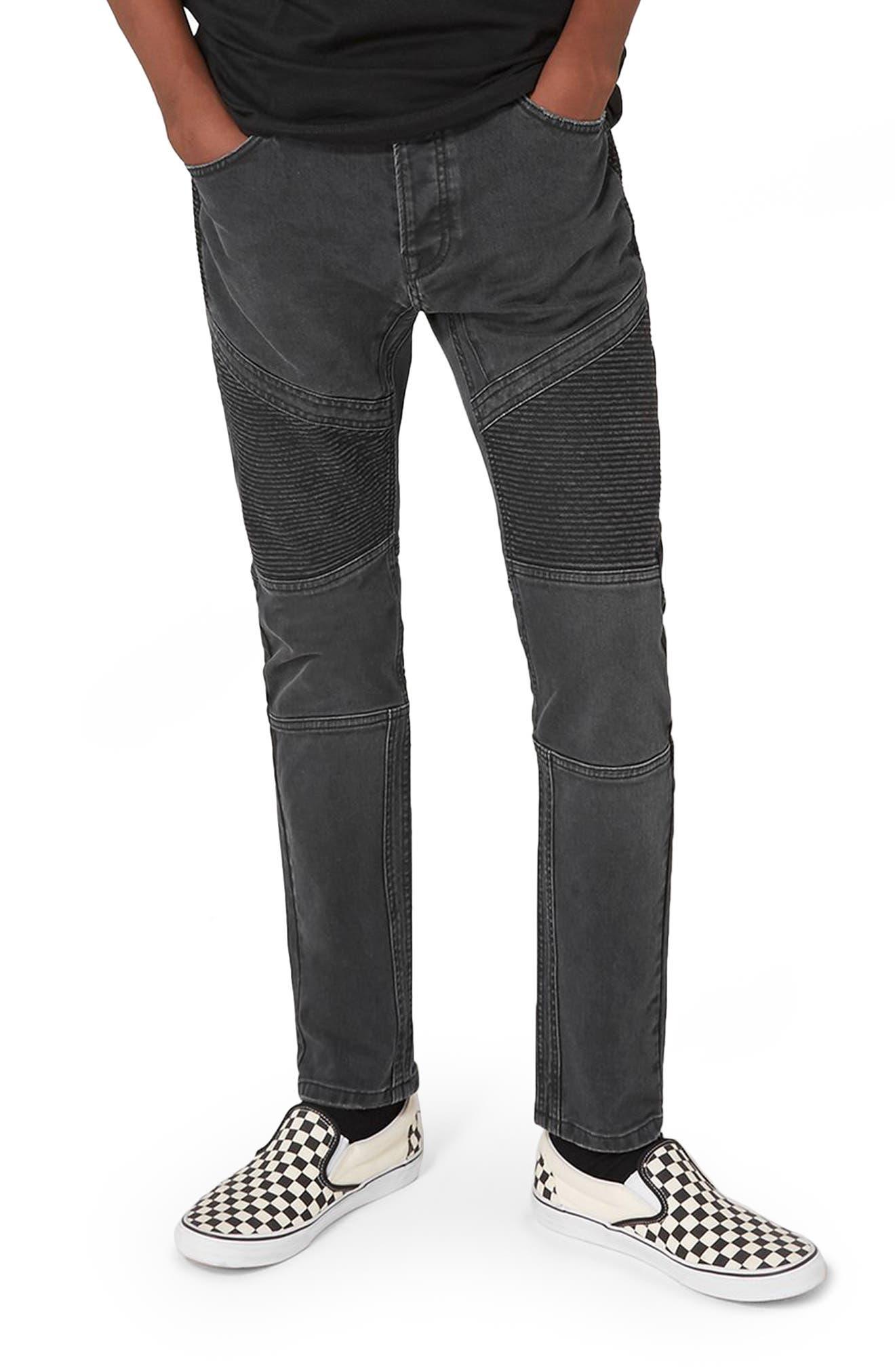 Biker Stretch Skinny Jeans,                             Main thumbnail 1, color,                             Dark Grey