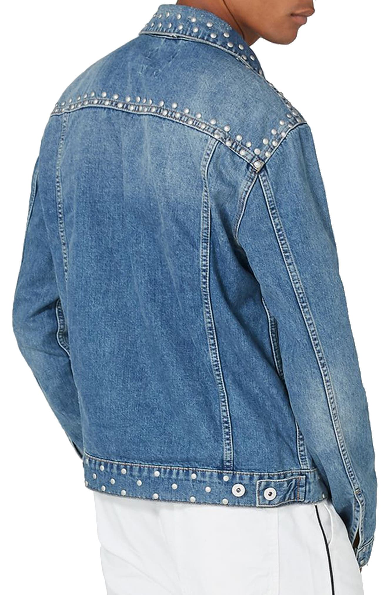 Studded Denim Jacket,                             Alternate thumbnail 2, color,                             Light Blue