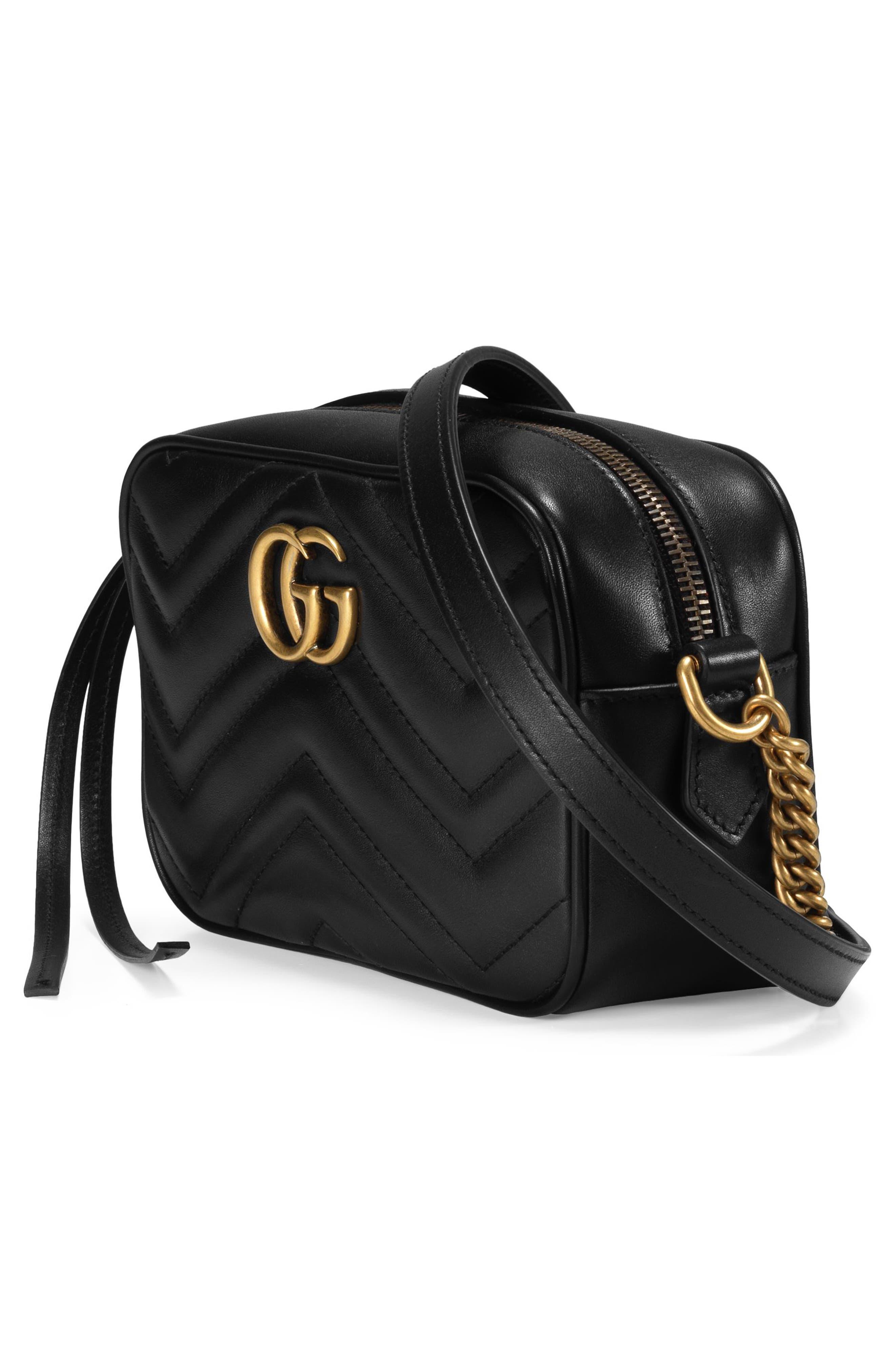 GG Marmont 2.0 Matelassé Leather Shoulder Bag,                             Alternate thumbnail 3, color,                             Nero