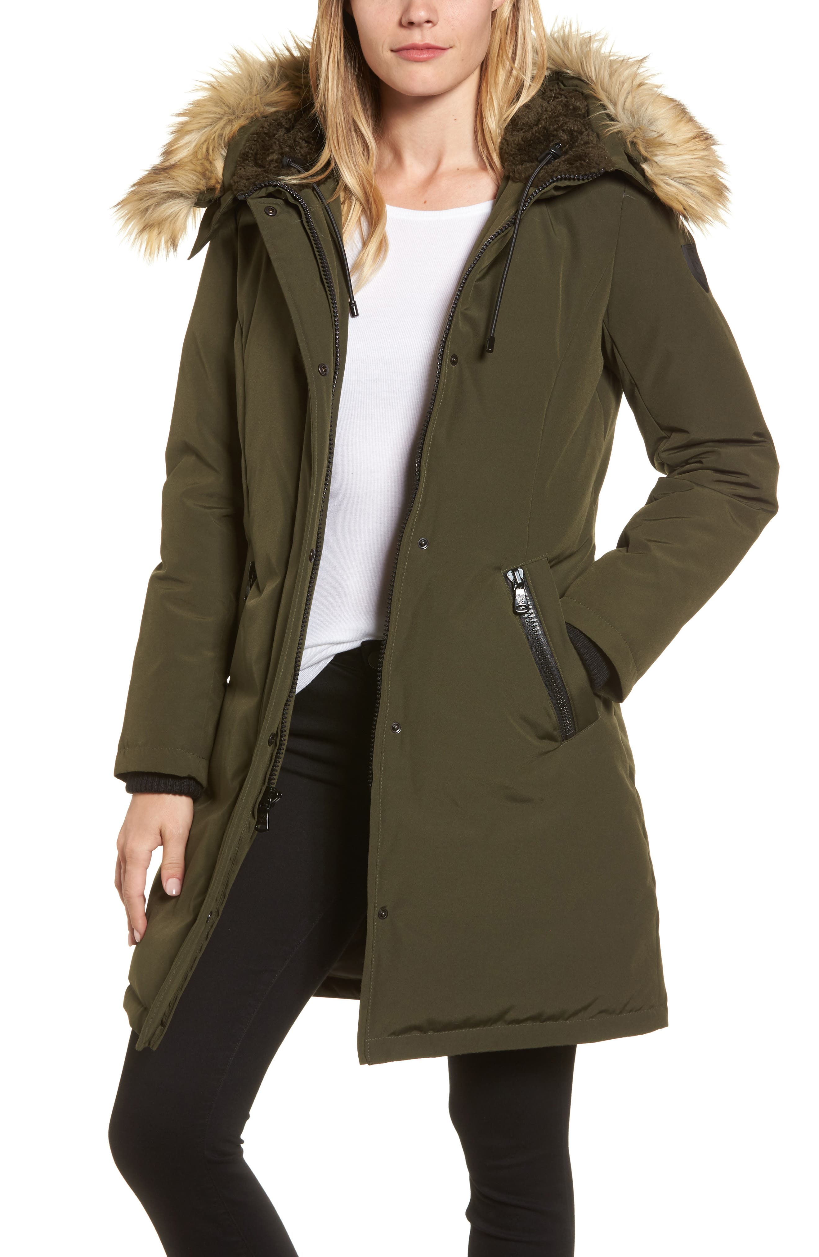 Alternate Image 1 Selected - Vince Camuto Down & Feather Fill Parka with Faux Fur Trim