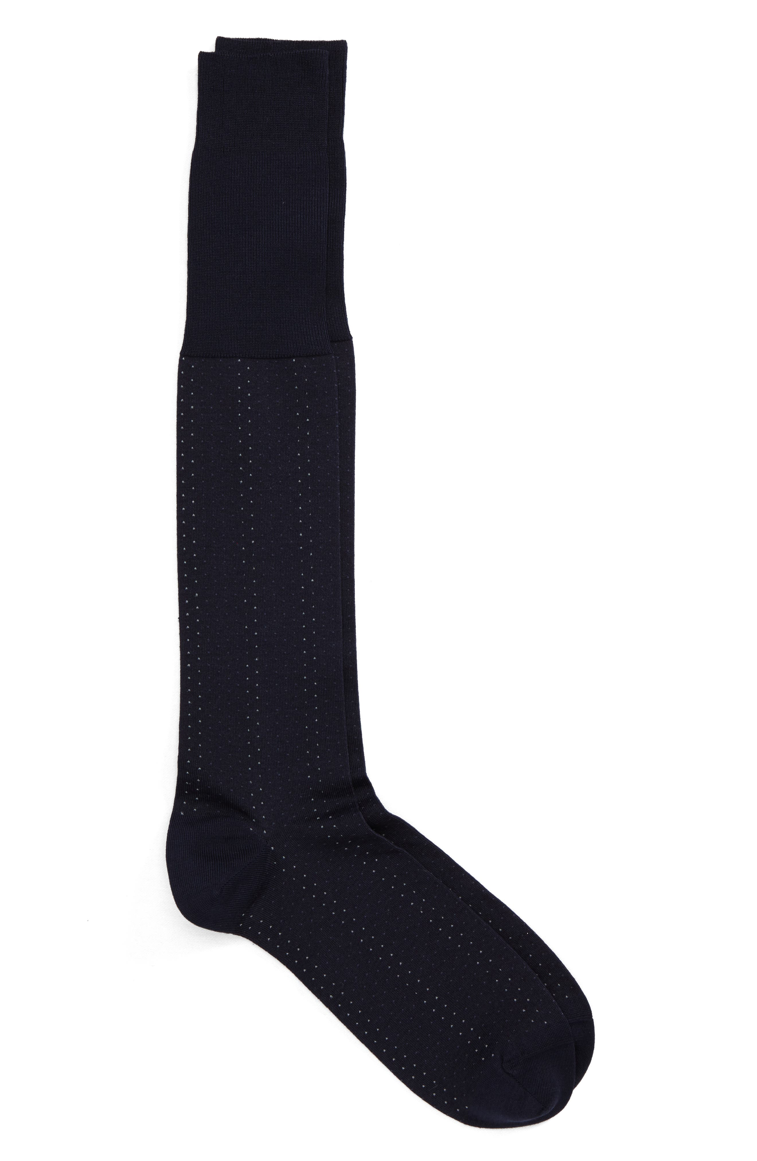 Mini Birdseye Over the Calf Socks,                             Main thumbnail 1, color,                             Navy/ Blue
