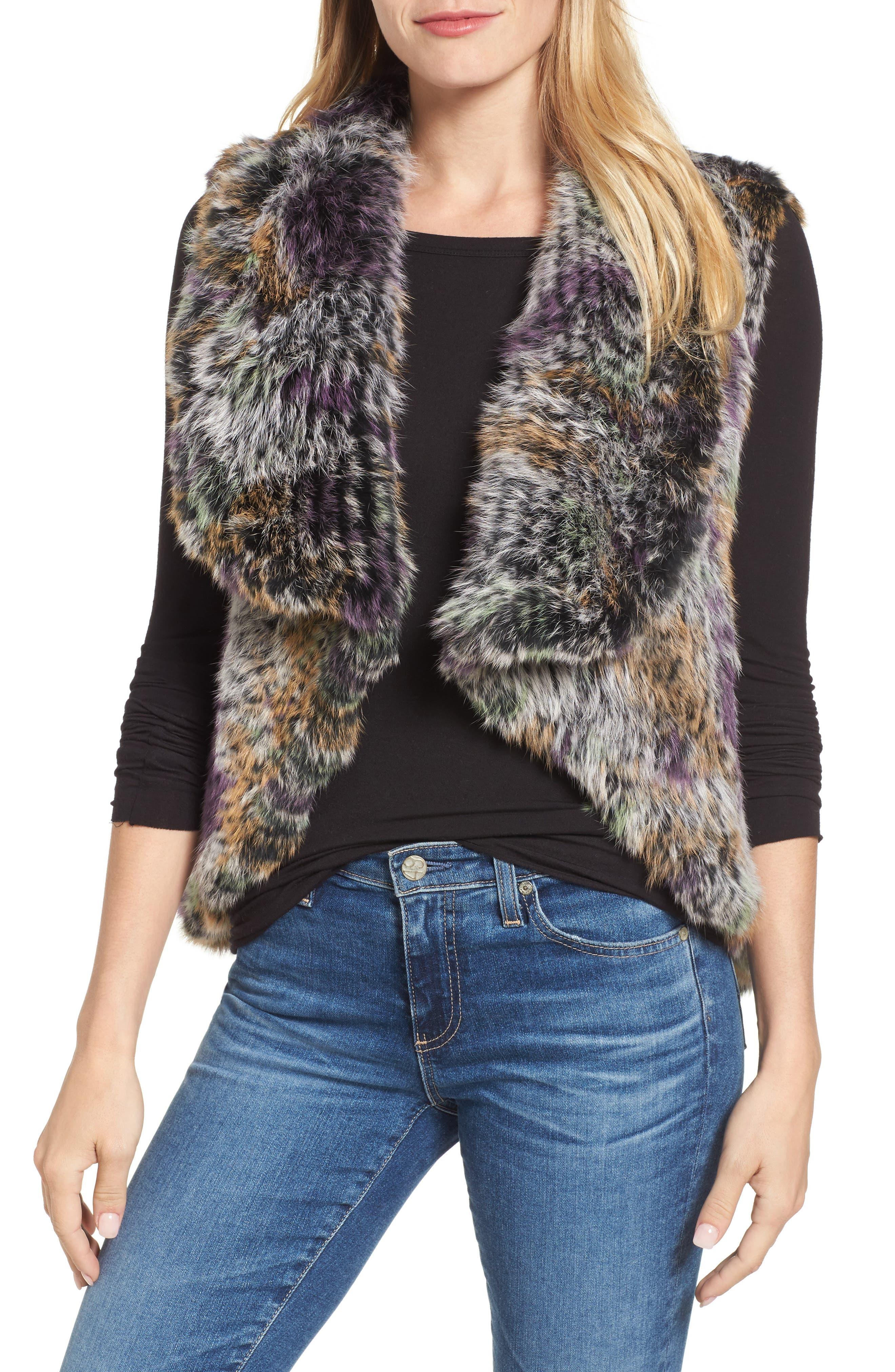 Woven Genuine Rabbit Fur Vest,                         Main,                         color, Multi