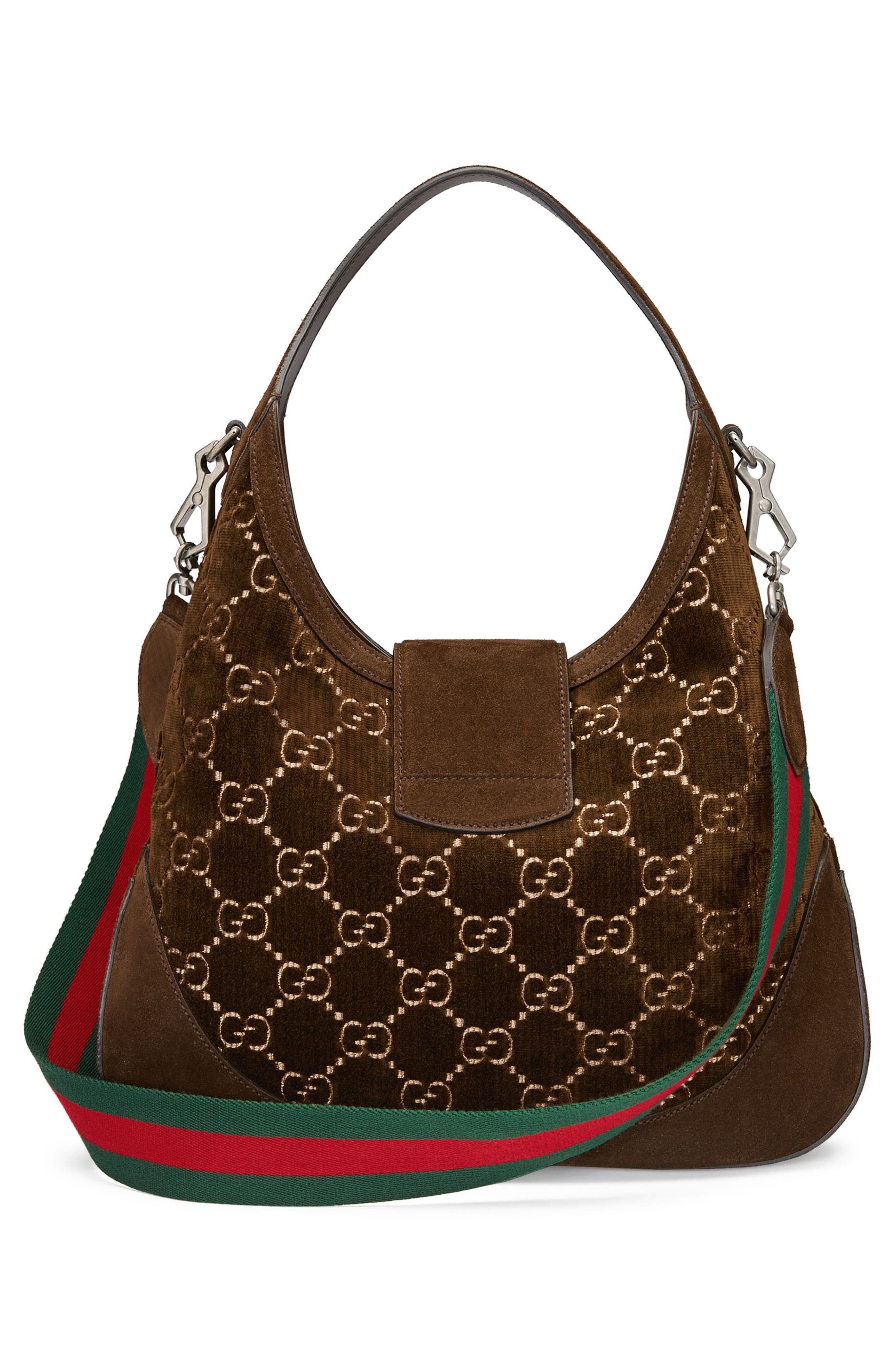 Medium Dionysus GG Velvet Hobo,                             Alternate thumbnail 2, color,                             Brown/ Vert Red Vert