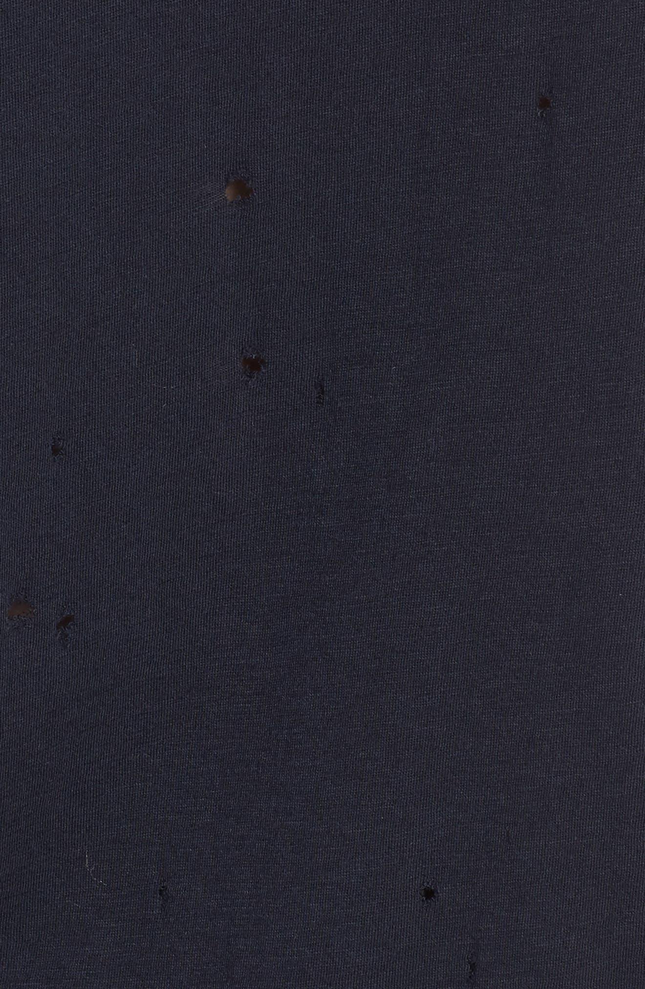 'Wassa' Destroyed V-Neck Tee,                             Alternate thumbnail 5, color,                             Marine