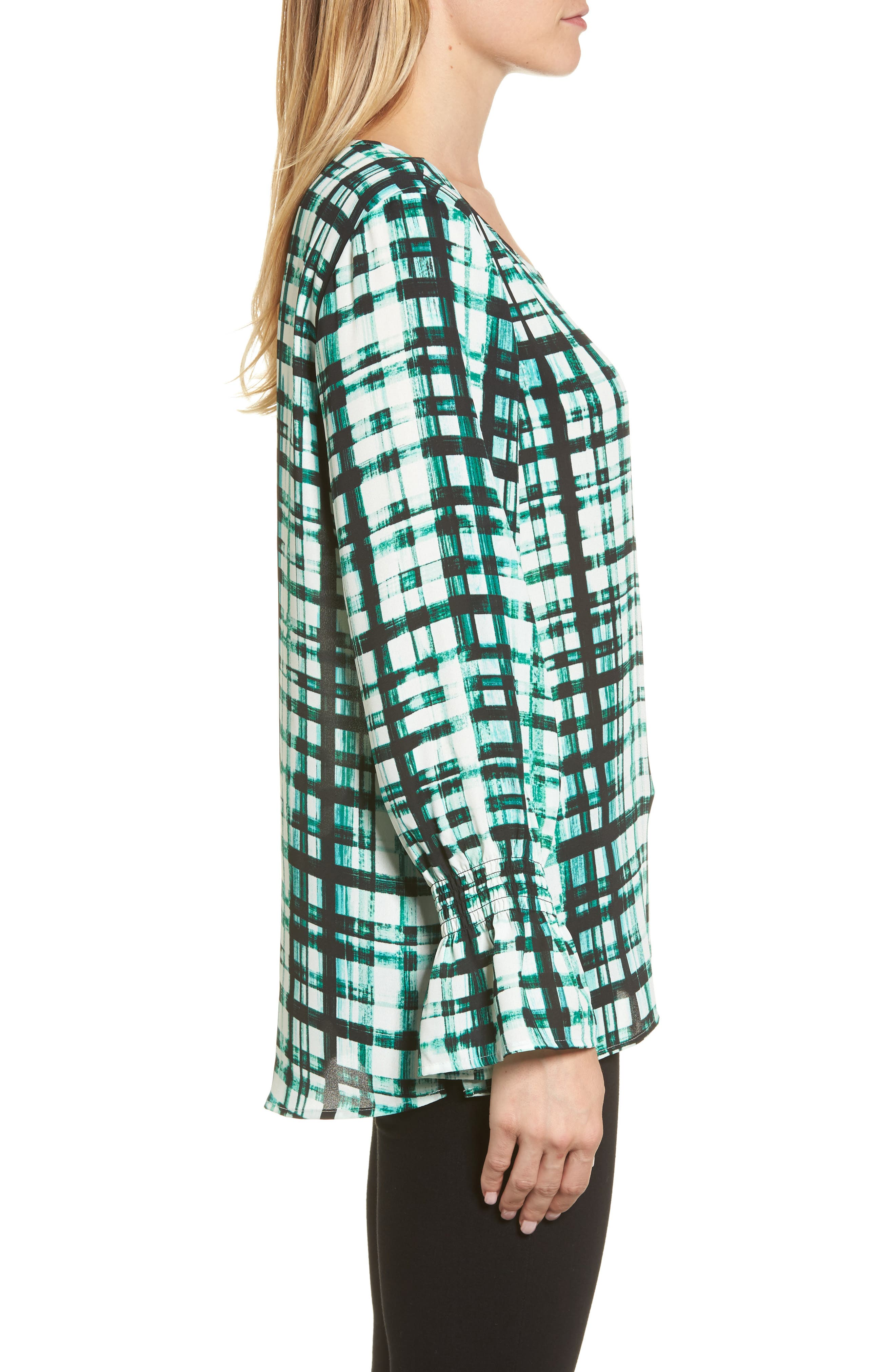 Plaid Ruffle Sleeve Blouse,                             Alternate thumbnail 3, color,                             Bright Amazon