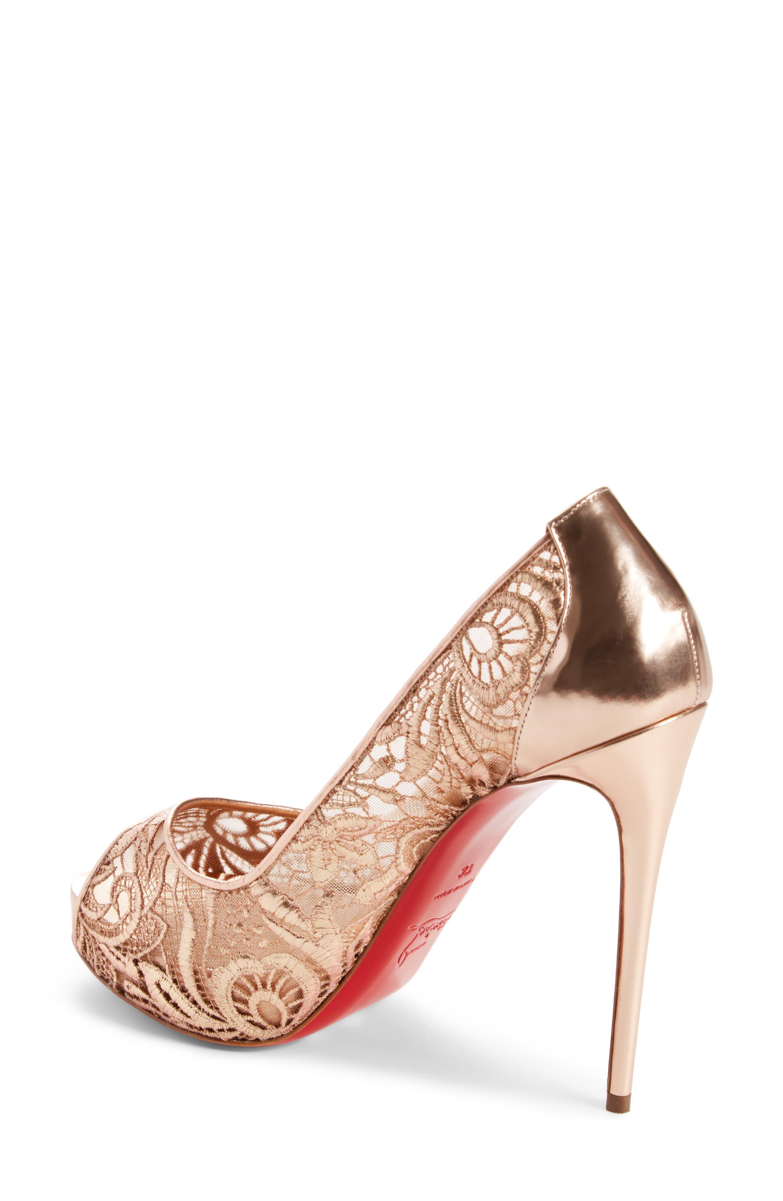 Very Lace Peep Toe Pump,                             Alternate thumbnail 2, color,                             Metallic Gold