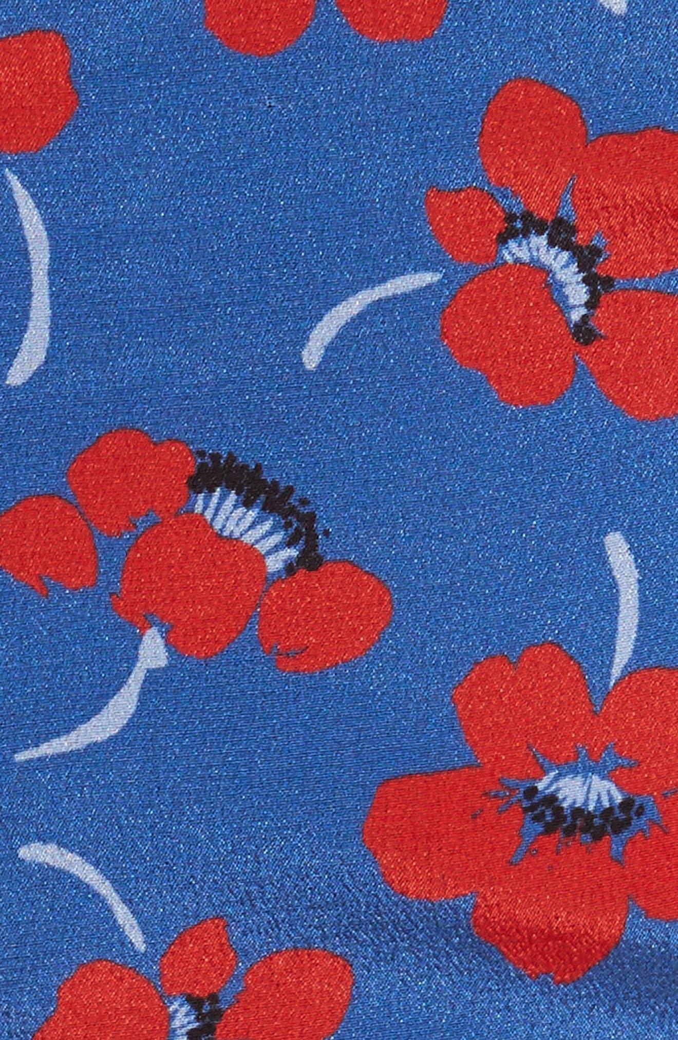 Diedra Tie Waist Silk Crop Top,                             Alternate thumbnail 5, color,                             Floating Floral/ Blue Quartz