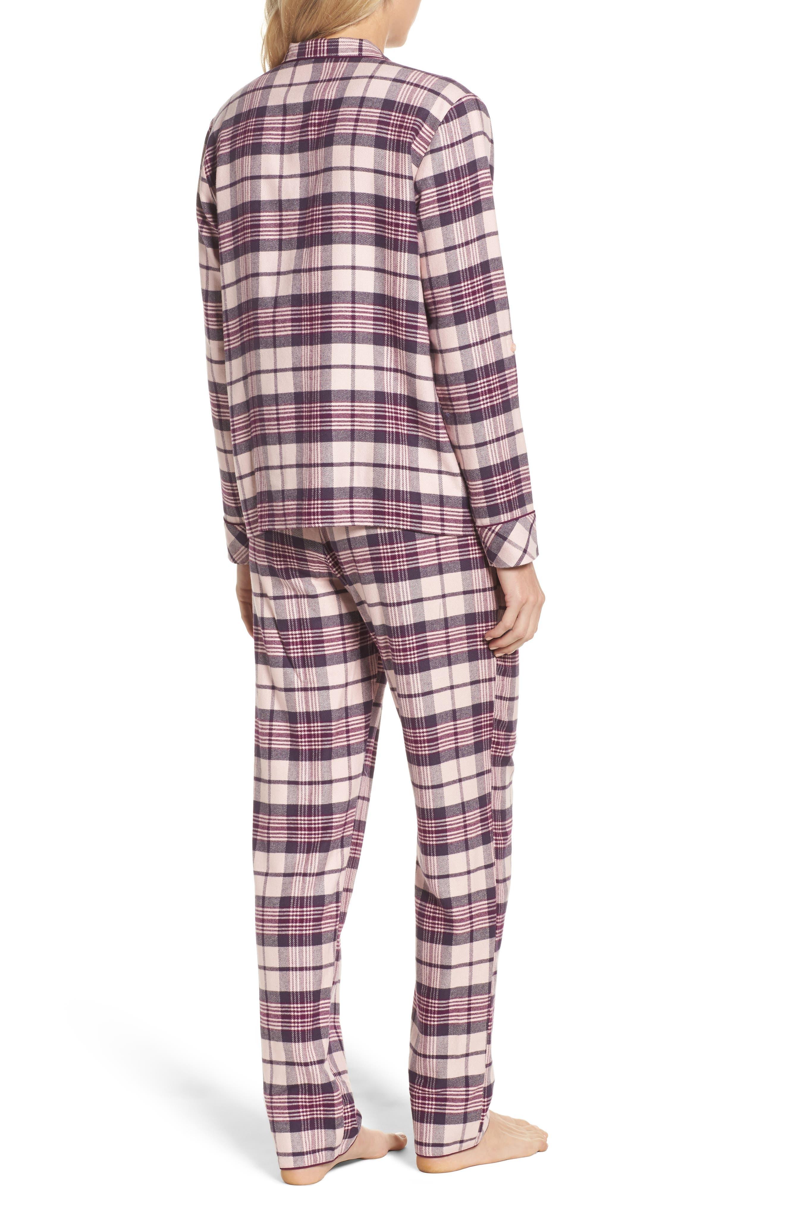 Lingerie Starlight Flannel Pajamas,                             Alternate thumbnail 2, color,                             Pink Peony Bud Tonal Tartan