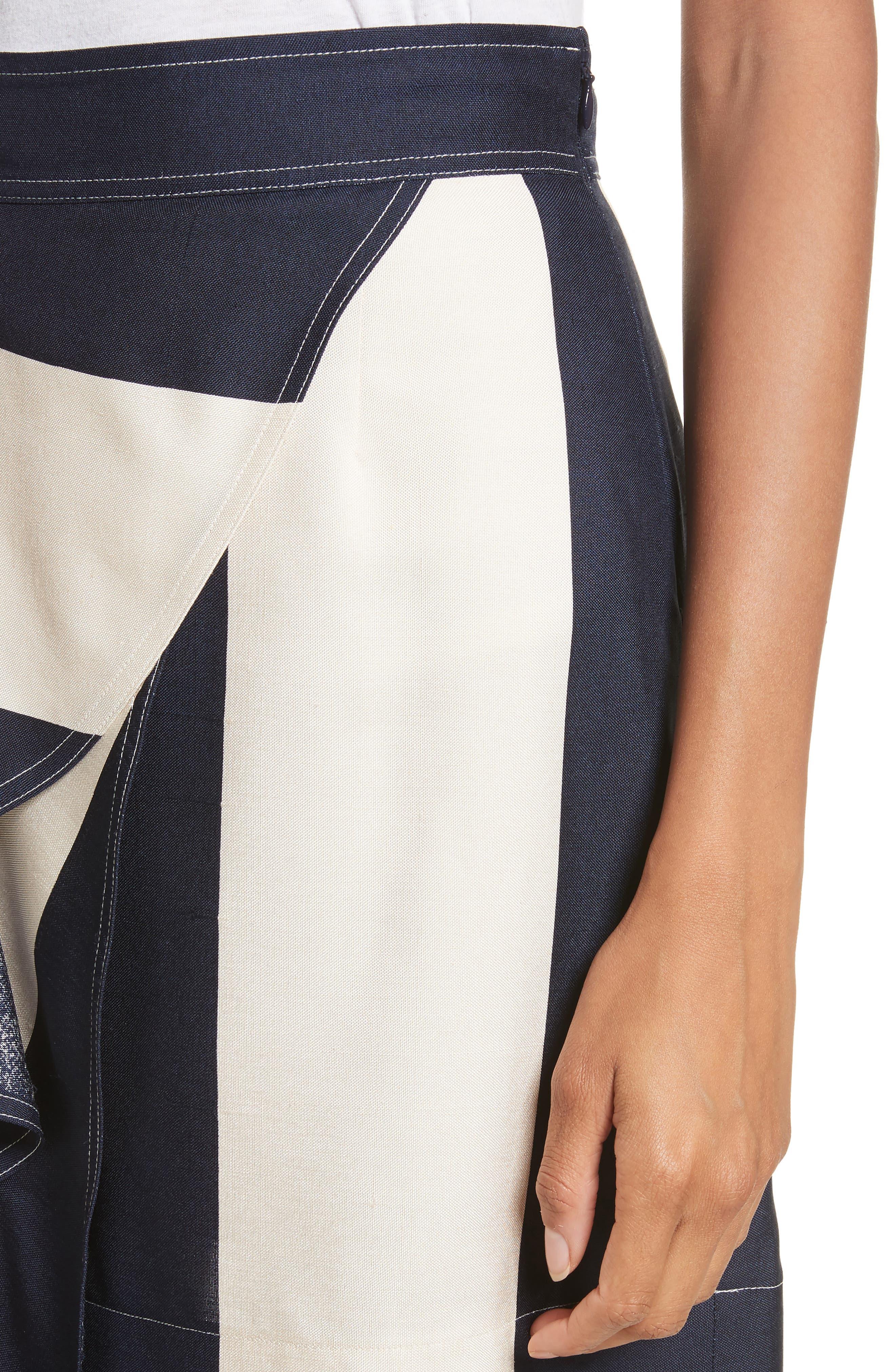 Alternate Image 5  - Calvin Klein 205W39NYC Flag Stripe Silk Shantung Drape Skirt
