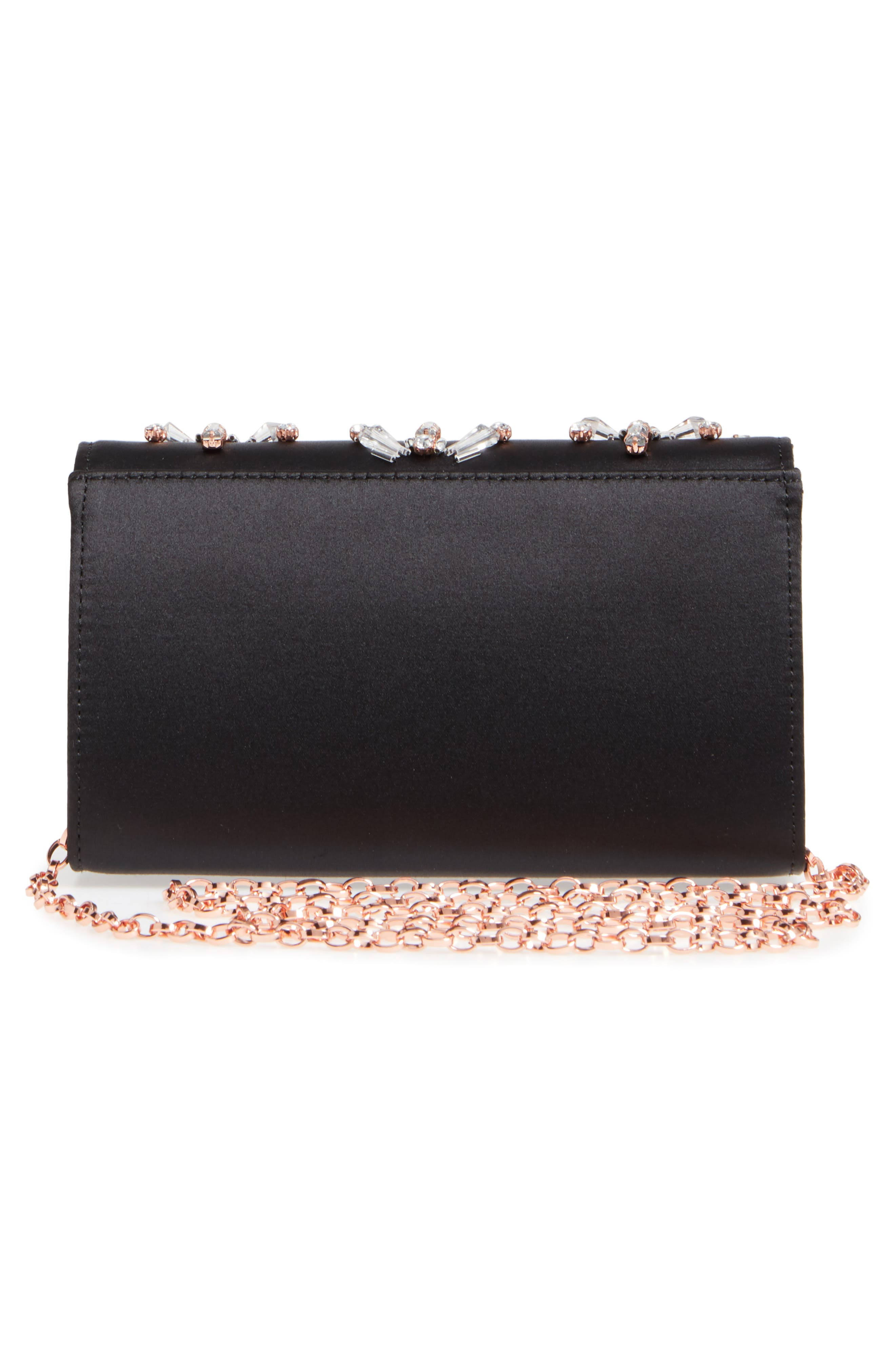 Daveena Crystal Embellished Satin Clutch,                             Alternate thumbnail 3, color,                             Black