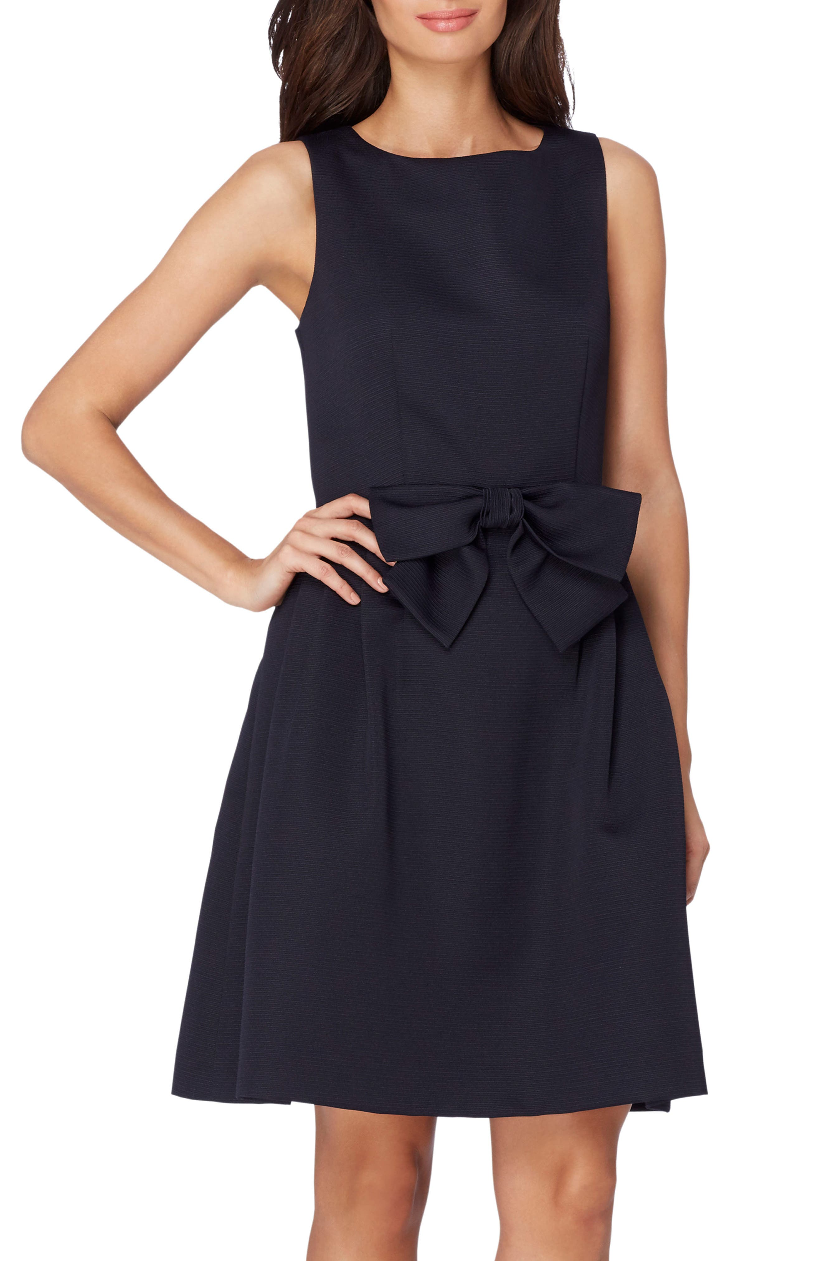 Bow Front A-Line Dress,                         Main,                         color, Navy