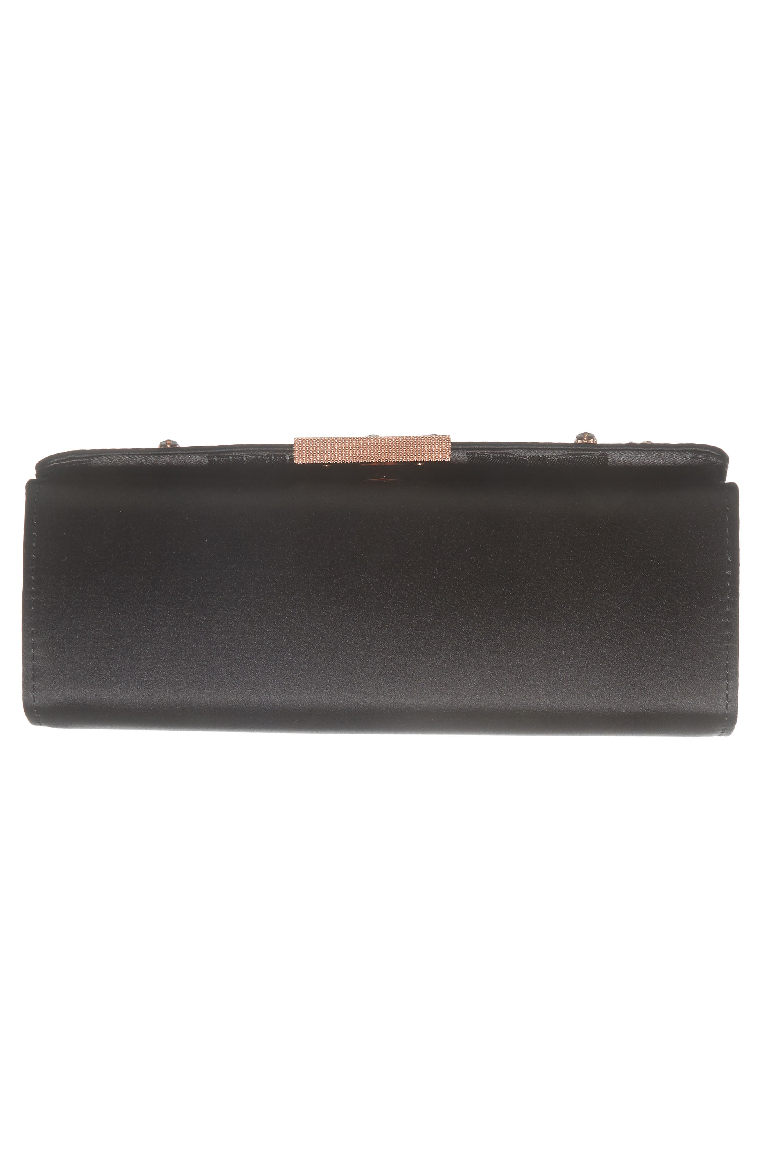 Daveena Crystal Embellished Satin Clutch,                             Alternate thumbnail 6, color,                             Black