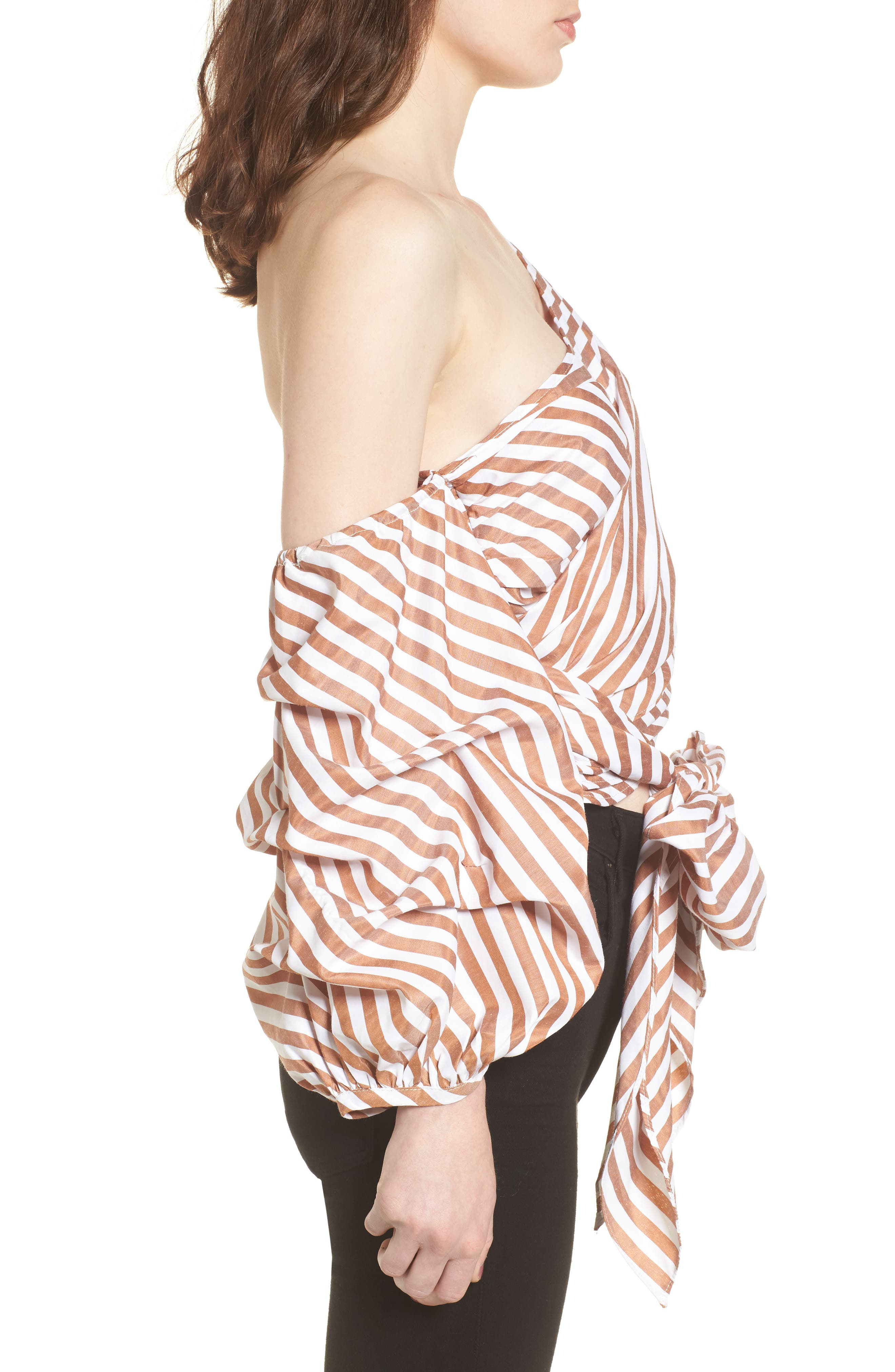 Wrap Me in Love One-Shoulder Top,                             Alternate thumbnail 3, color,                             Striped Brown