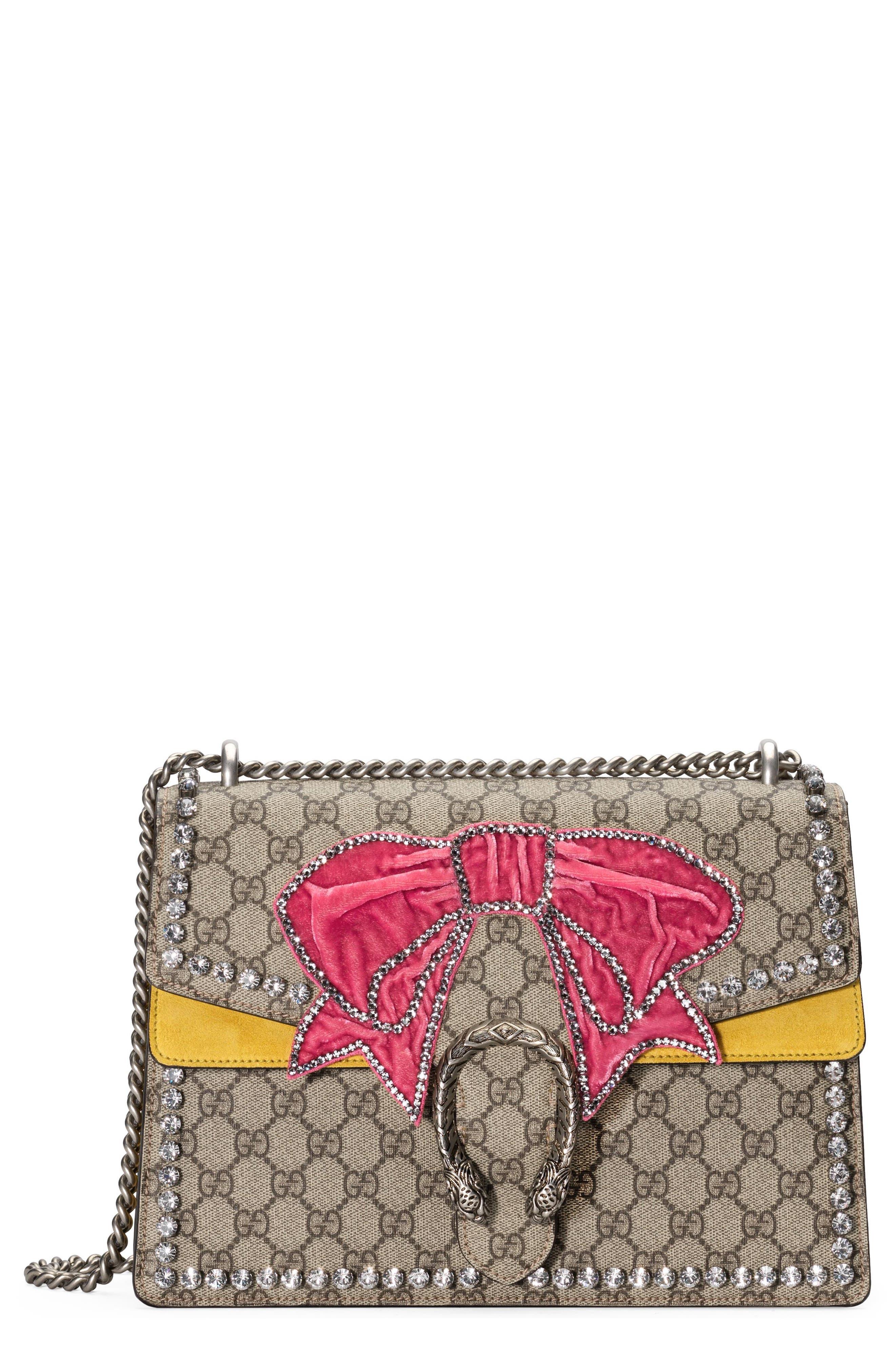 Medium Dionysus GG Supreme Canvas Shoulder Bag,                             Main thumbnail 1, color,                             Beige Ebony Crystal