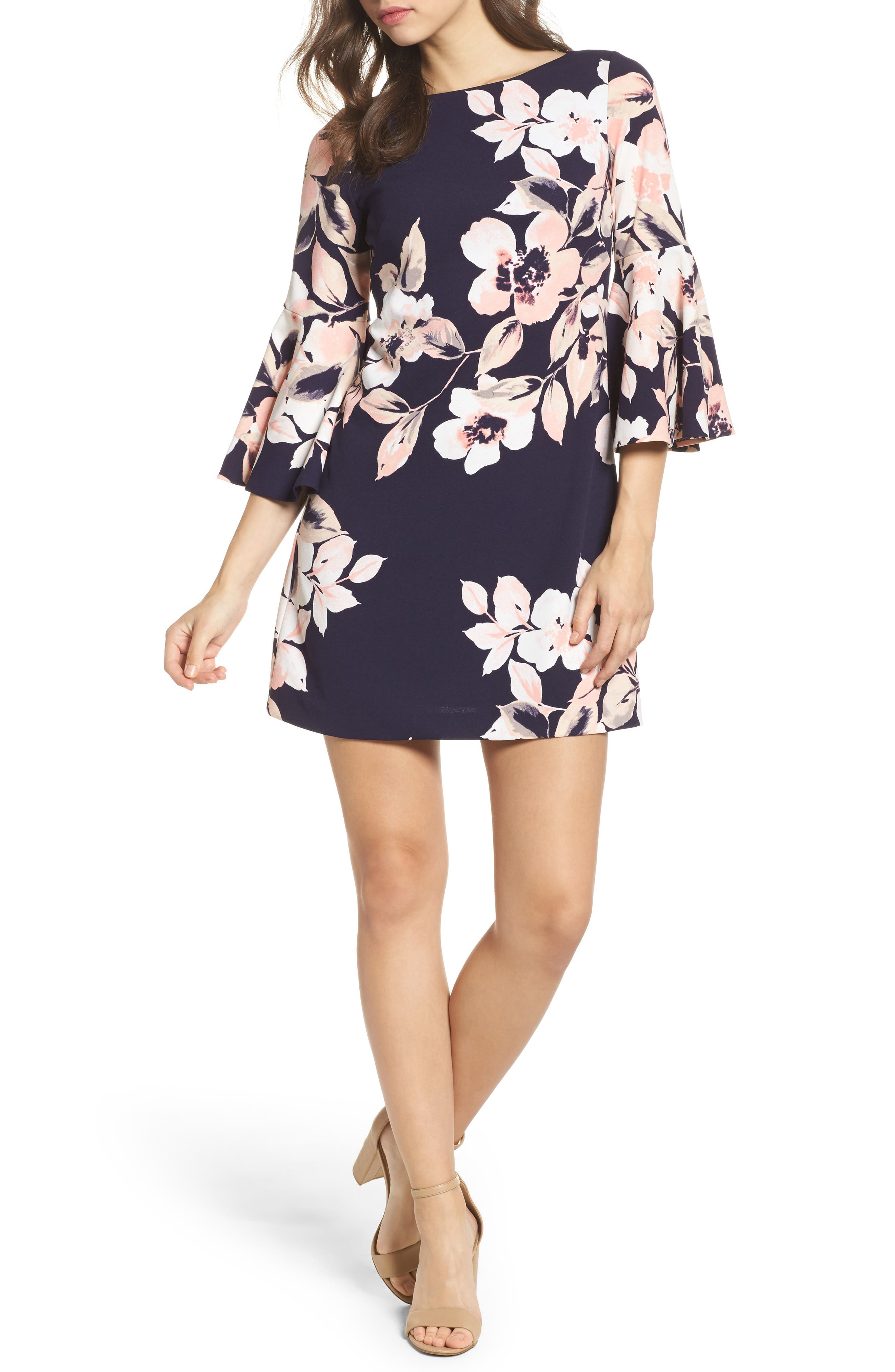 Bell Sleeve Shift Dress,                         Main,                         color, Navy/ Blush