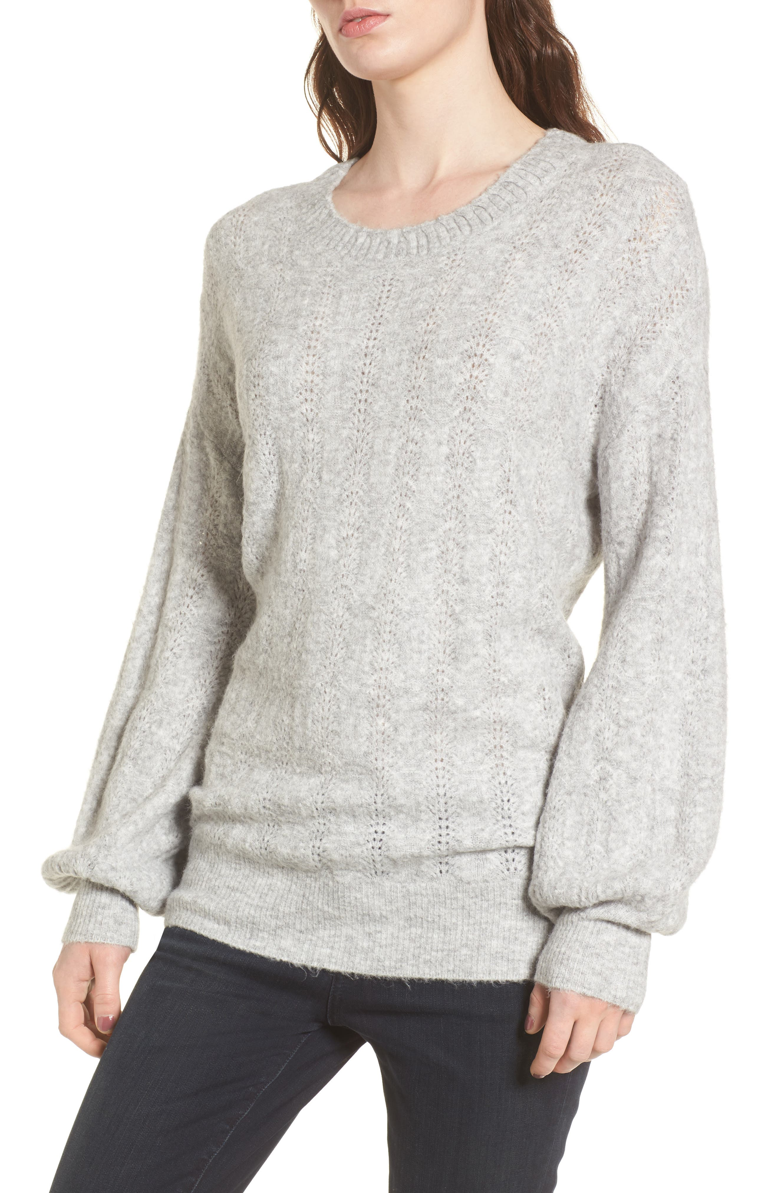 Open Back Sweater,                             Main thumbnail 1, color,                             Grey Heather