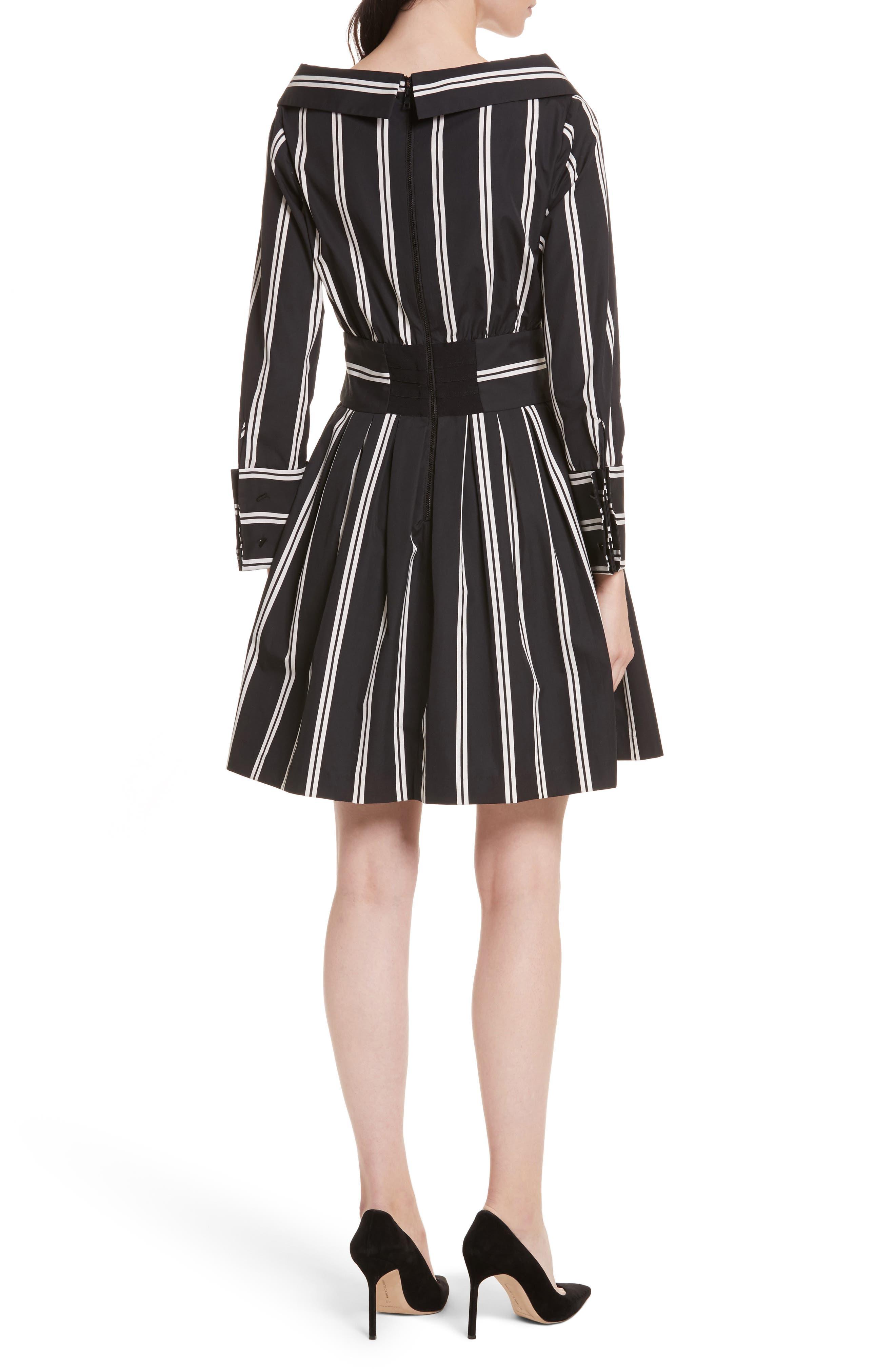 Iliana Stripe Fit & Flare Dress,                             Alternate thumbnail 2, color,                             Mod Pinstripe