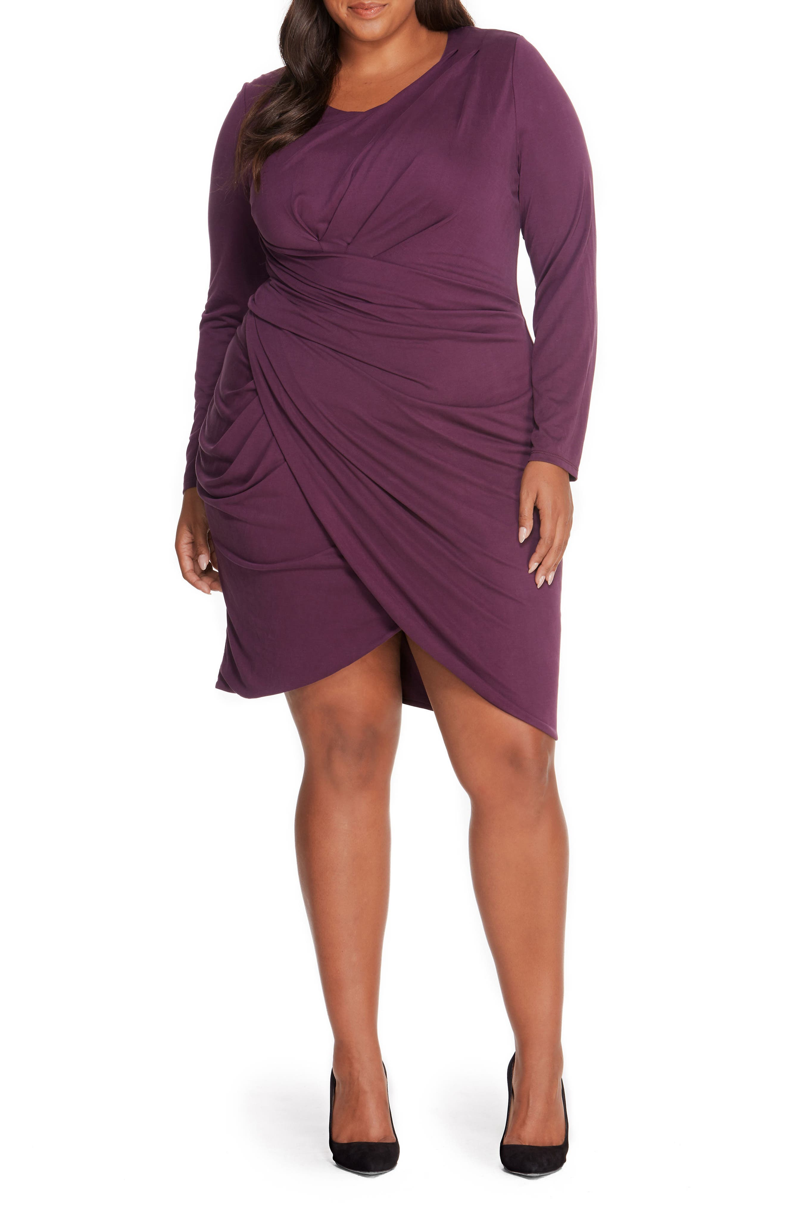Pleated Faux Wrap Dress,                         Main,                         color, Winter Bloom