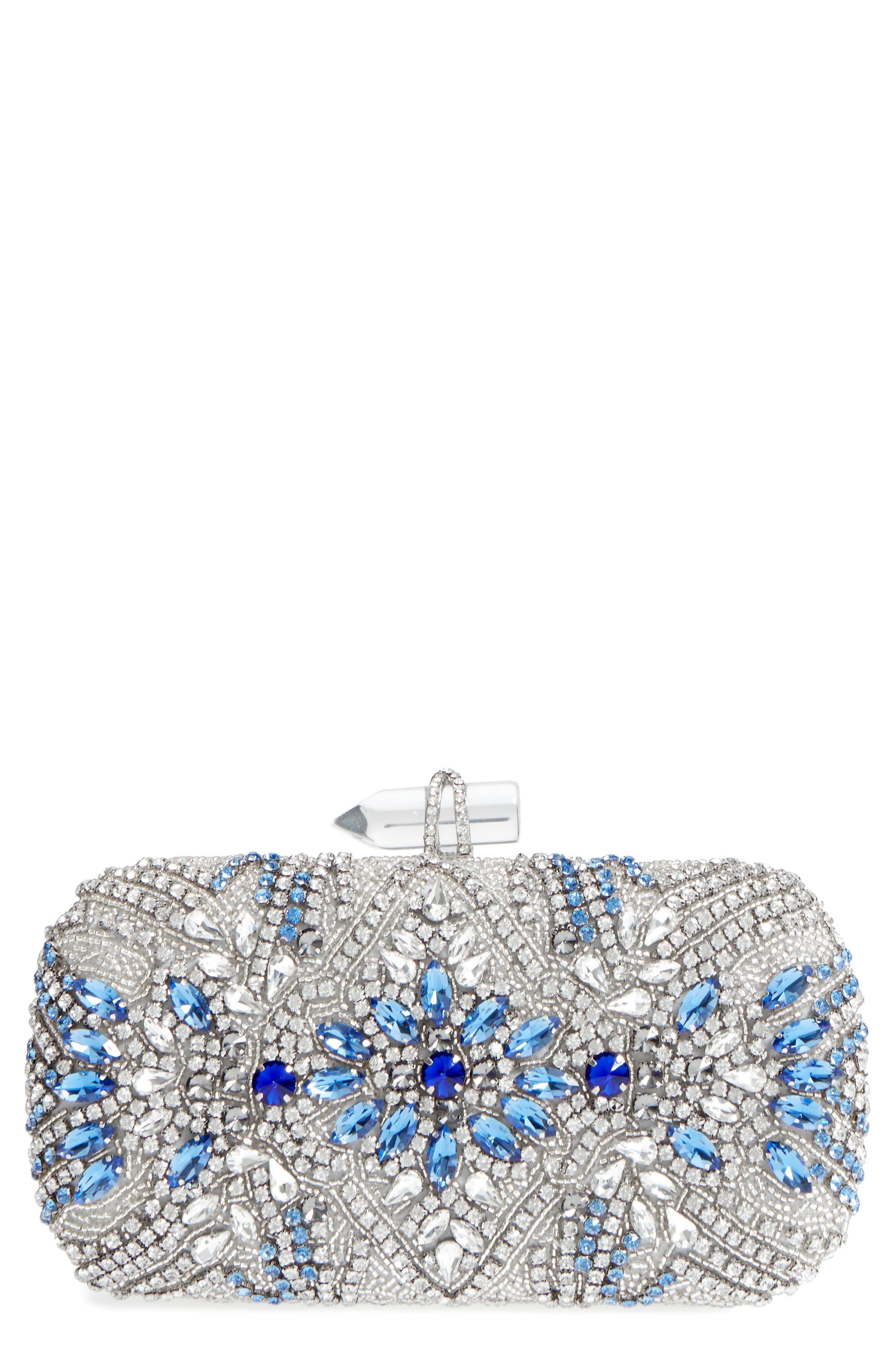 Gelsey Crystal Embellished Minaudière,                             Main thumbnail 1, color,                             Silver Multi