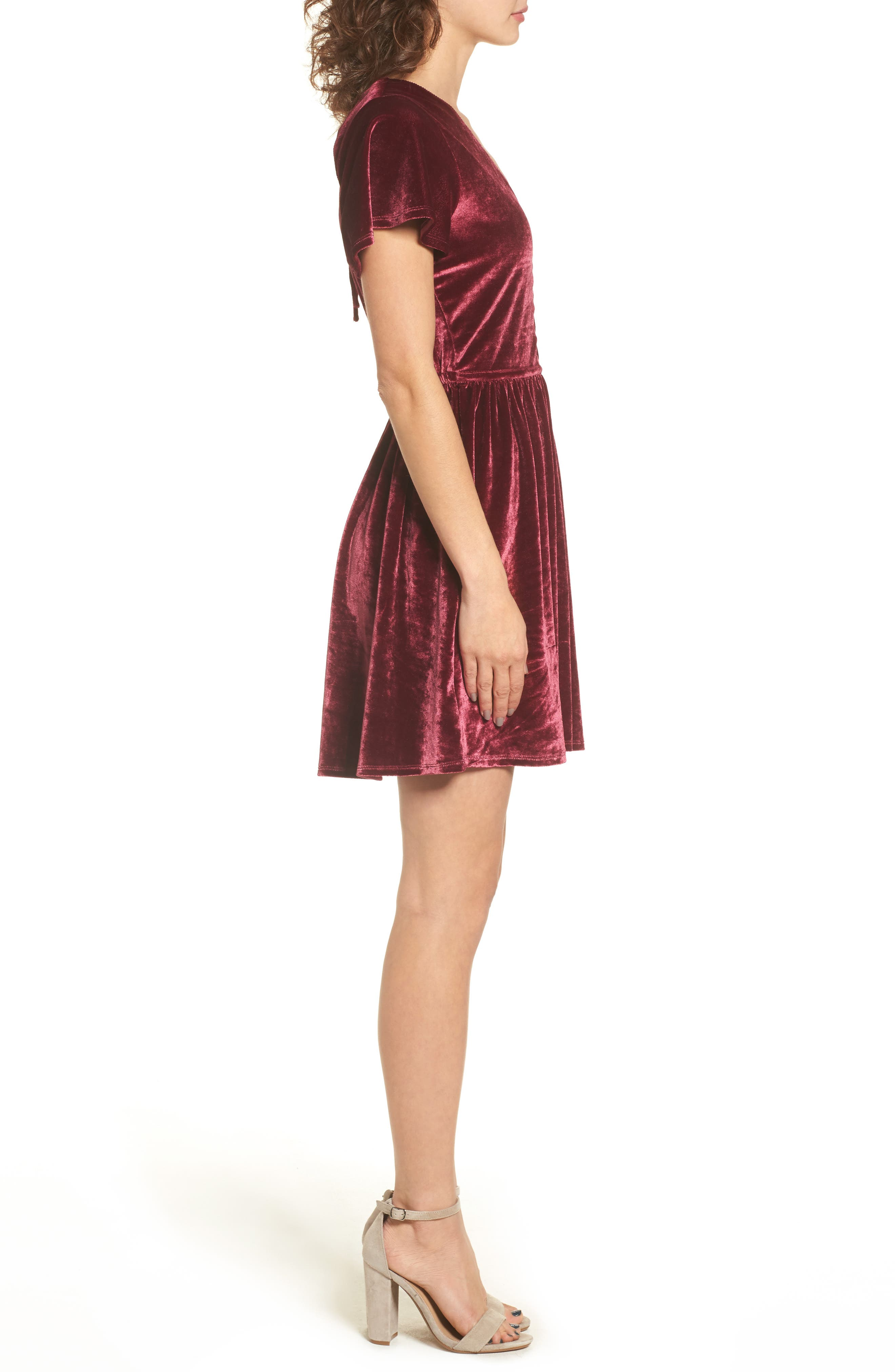 Velvacious Dress,                             Alternate thumbnail 4, color,                             Burgundy