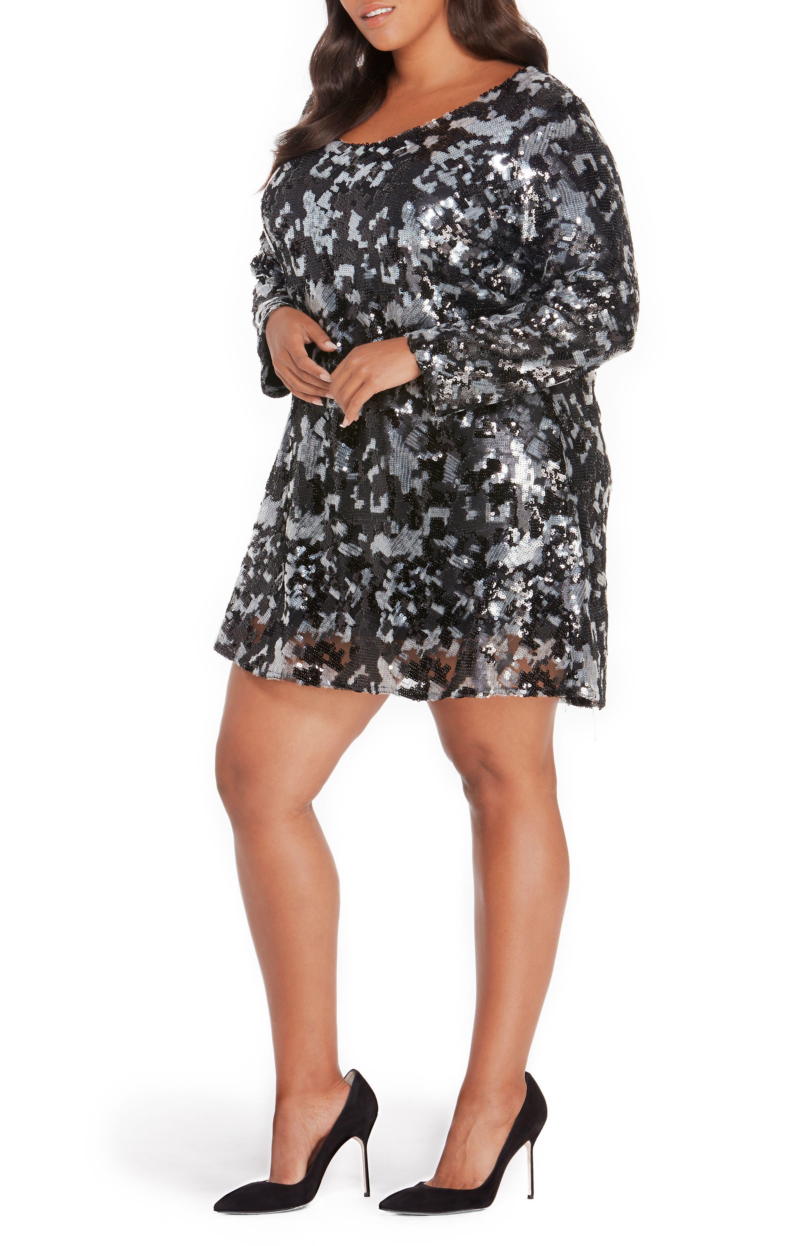 Sequin Dress,                             Alternate thumbnail 4, color,                             Black Abstract Camo