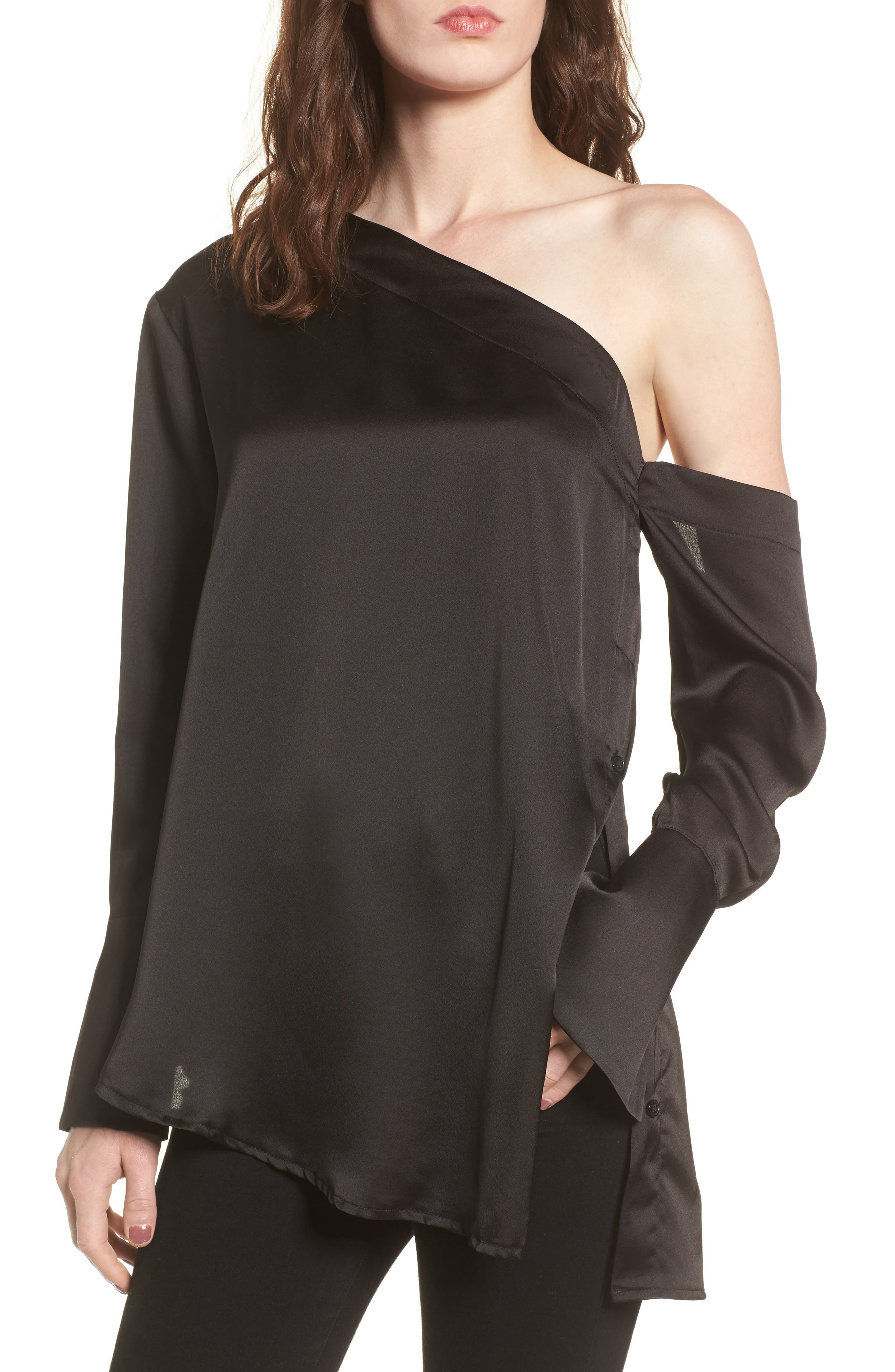 The Dreamer One-Shoulder Top,                             Main thumbnail 1, color,                             Black