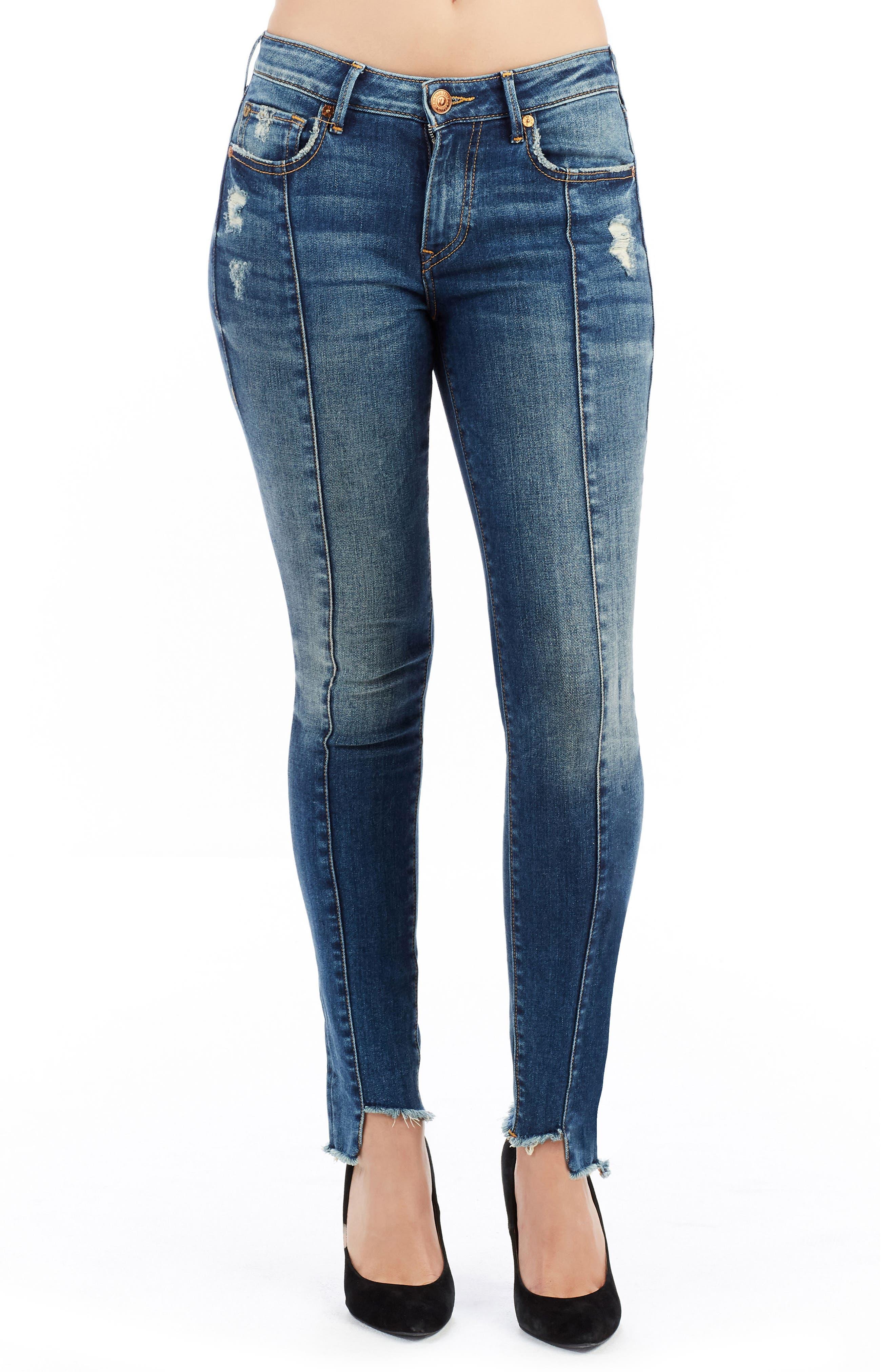 Jennie Curvy Skinny Jeans,                             Main thumbnail 1, color,                             Famous Blue Rock