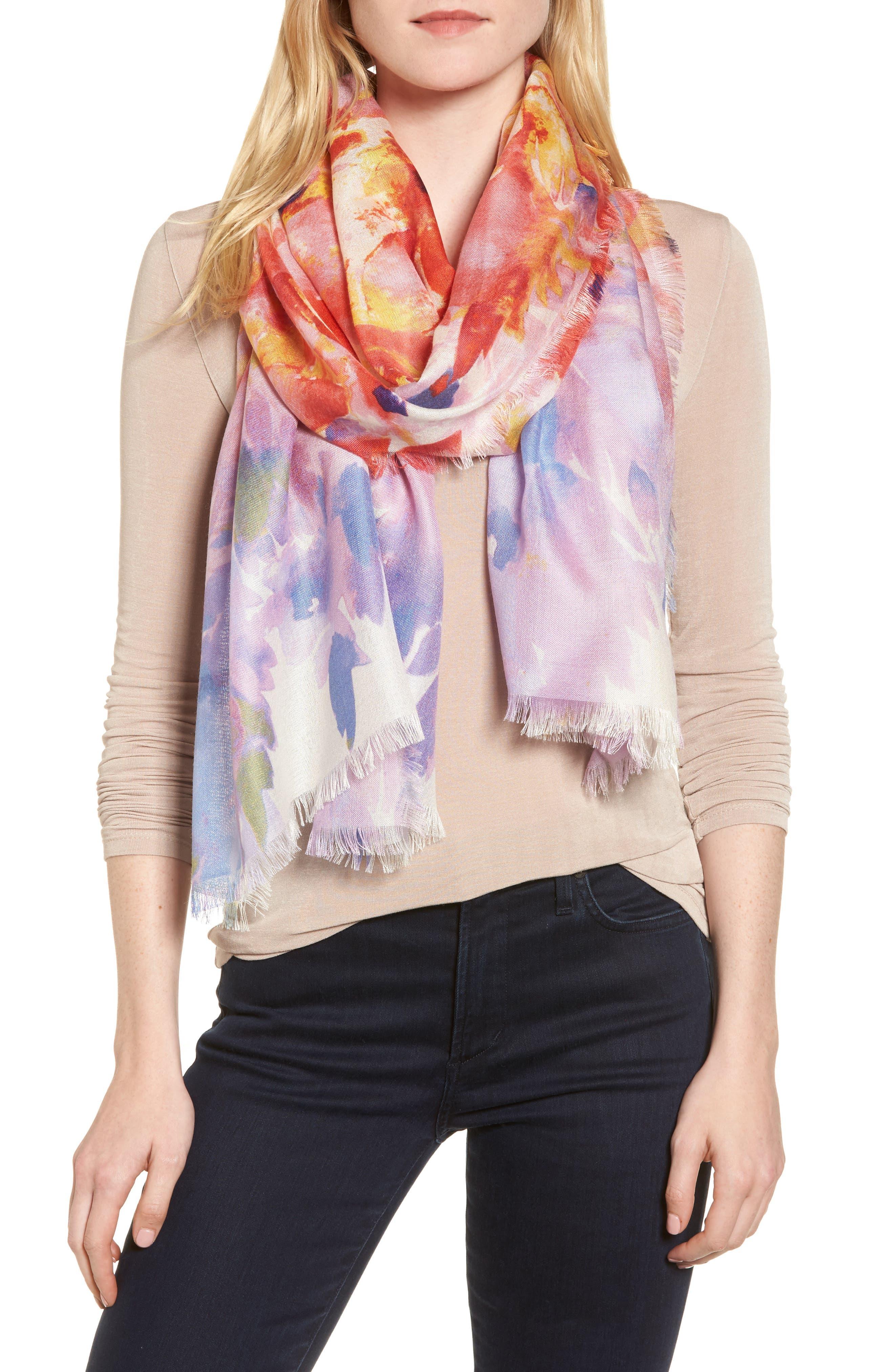 Eyelash Trim Print Cashmere & Silk Wrap,                         Main,                         color, Red Floral Oasis