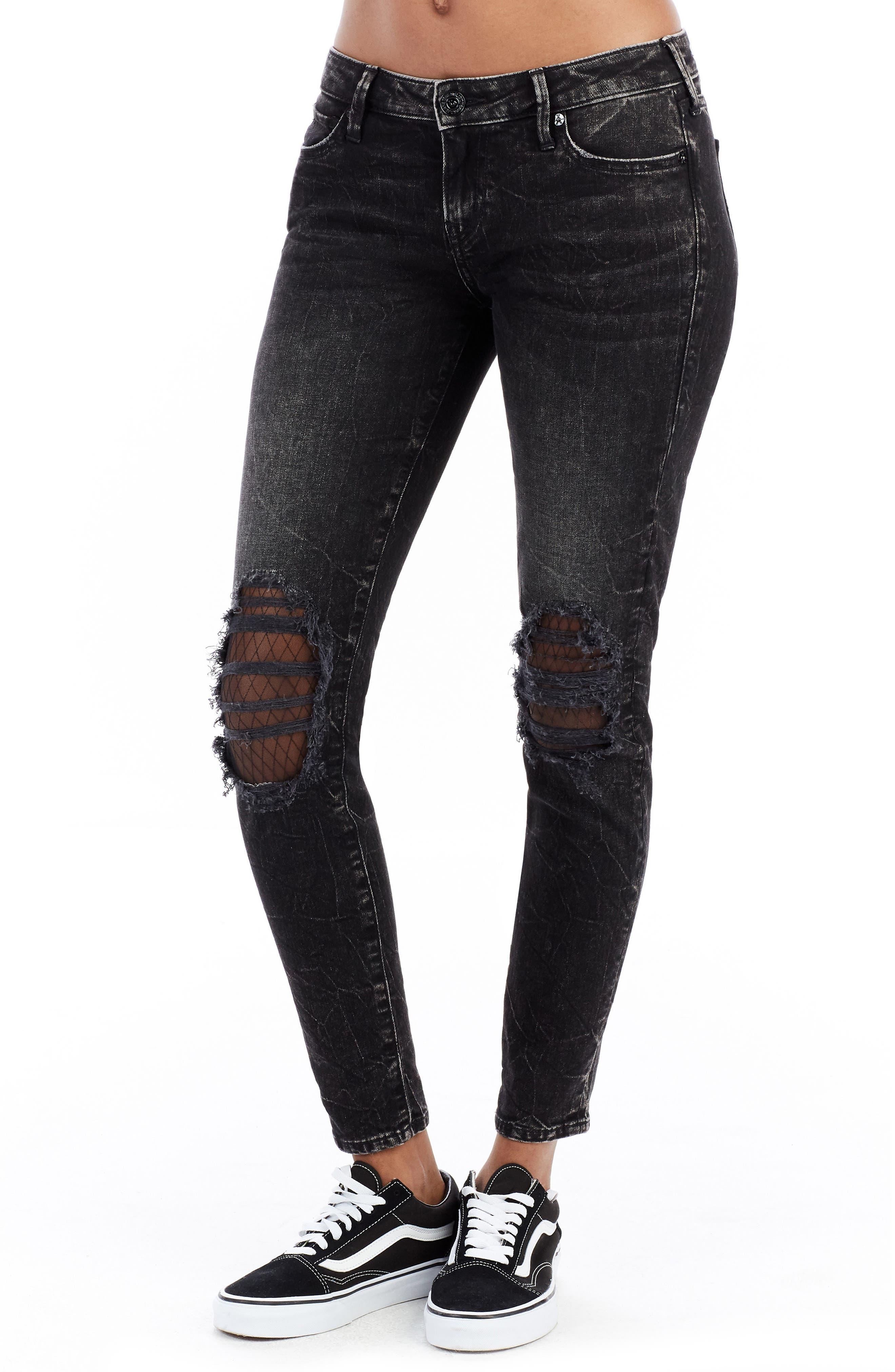 Halle Ankle Skinny Jeans,                         Main,                         color, Raven Fever